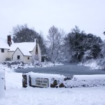 photo of Willy Lott's House and Flatford Mill Pond in snow