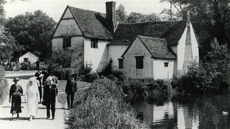 Newspaper cutting of Queen Mary visiting Flatford and walking past Willy Lott's House 1938