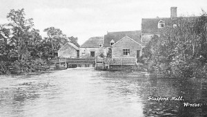 black and white photo of walk ways and wheel house 1906 Flatford Mill
