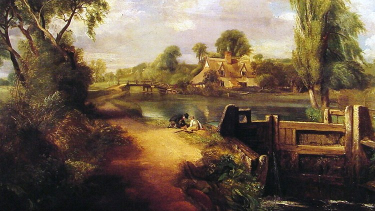 Detail from Boys Fishing by John Constable 1813