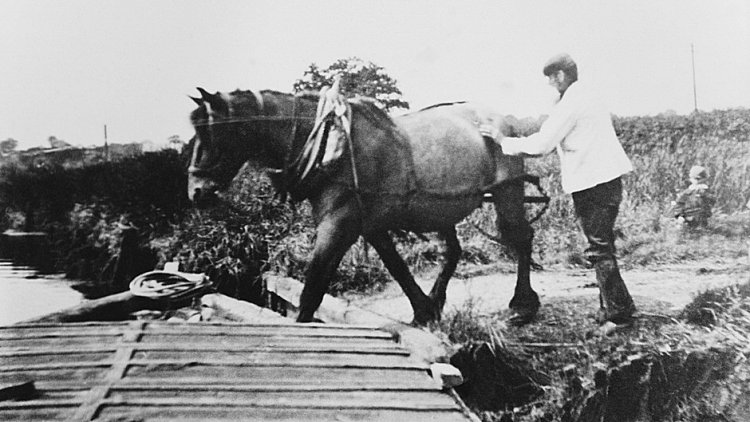 Black and white photo of a horse is helped onto a lighter