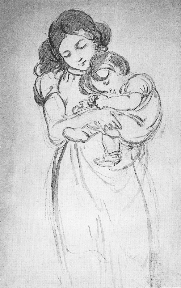 Sketch by John Constable of Maria Louisa Constable with baby Lionel Bicknell 1831/2 whereabouts unknown