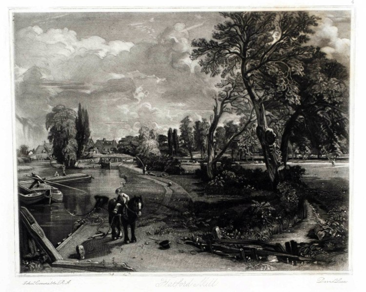 Scene on a Navigable River - Mezzotint first published 1855 John Constable and David Lucas