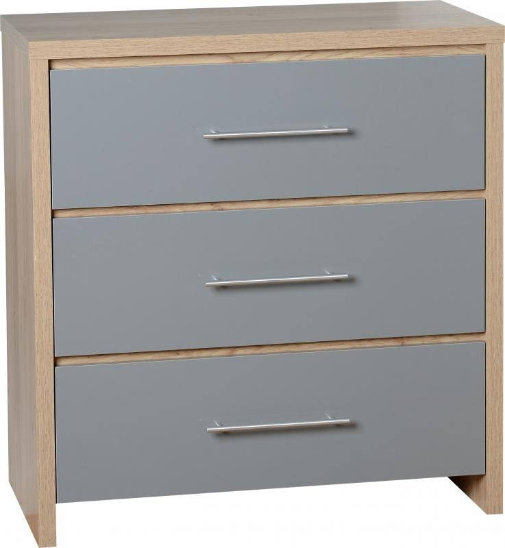 Seville 3 Drawer Chest Grey Chest Of Drawers