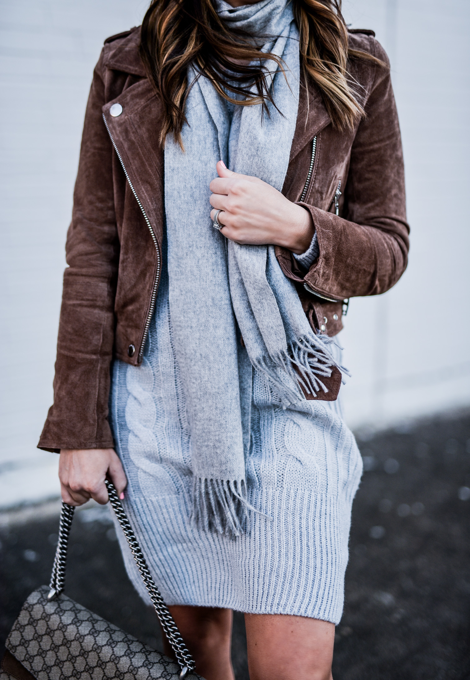 Flaunt and Center | Houston fashion and style blogger Tiffany Jais wearing an grey ASOS sweater dress and a blank NYC suede moto jacket, click here for more details | What's trending in women's fashion