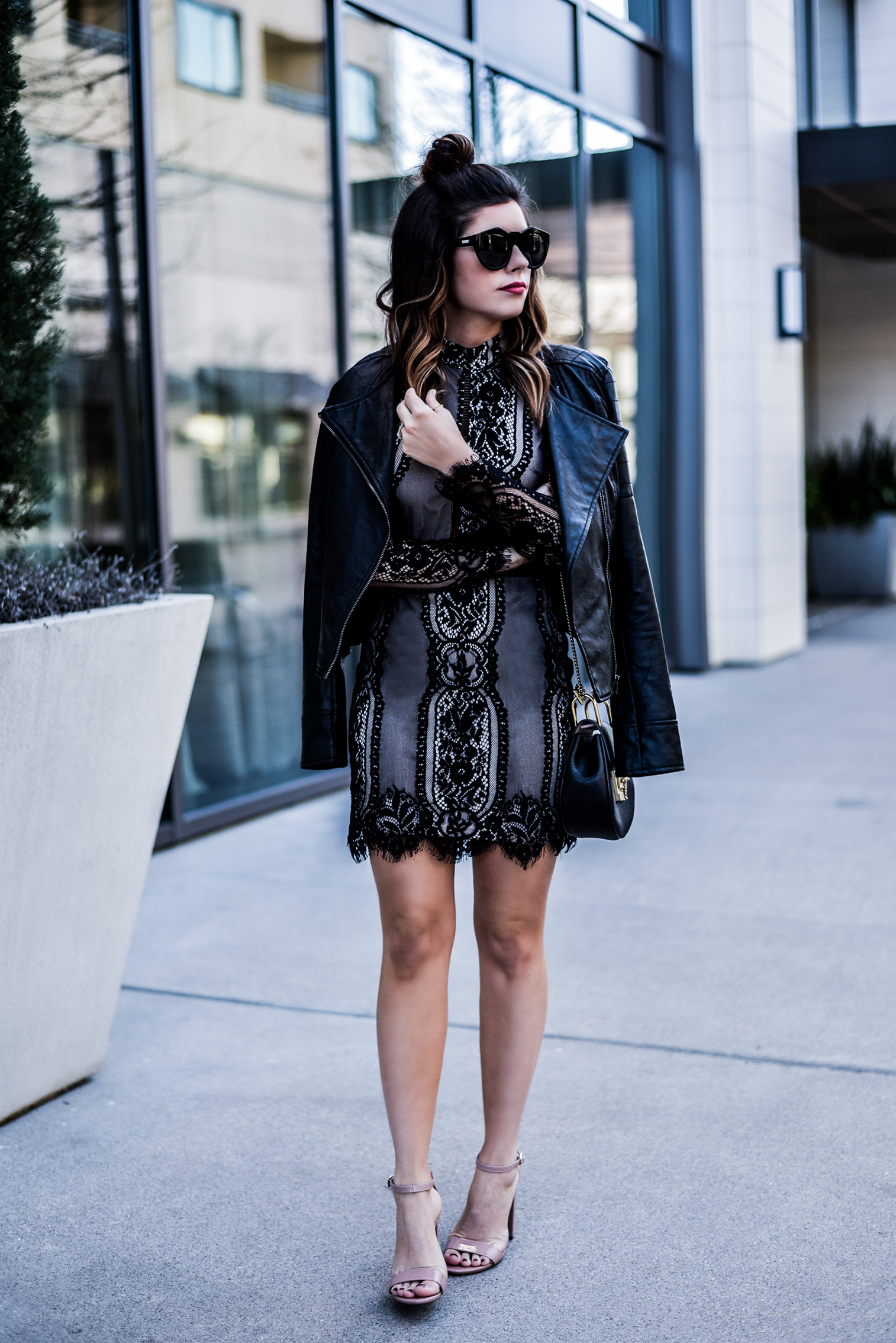 Houston fashion and lifestyle blogger Tiffany Jais wearing a black lace dress by Nordstrom and a black Chloe bag for Valentines Day, Click to read more | Valentines Day outfit ideas