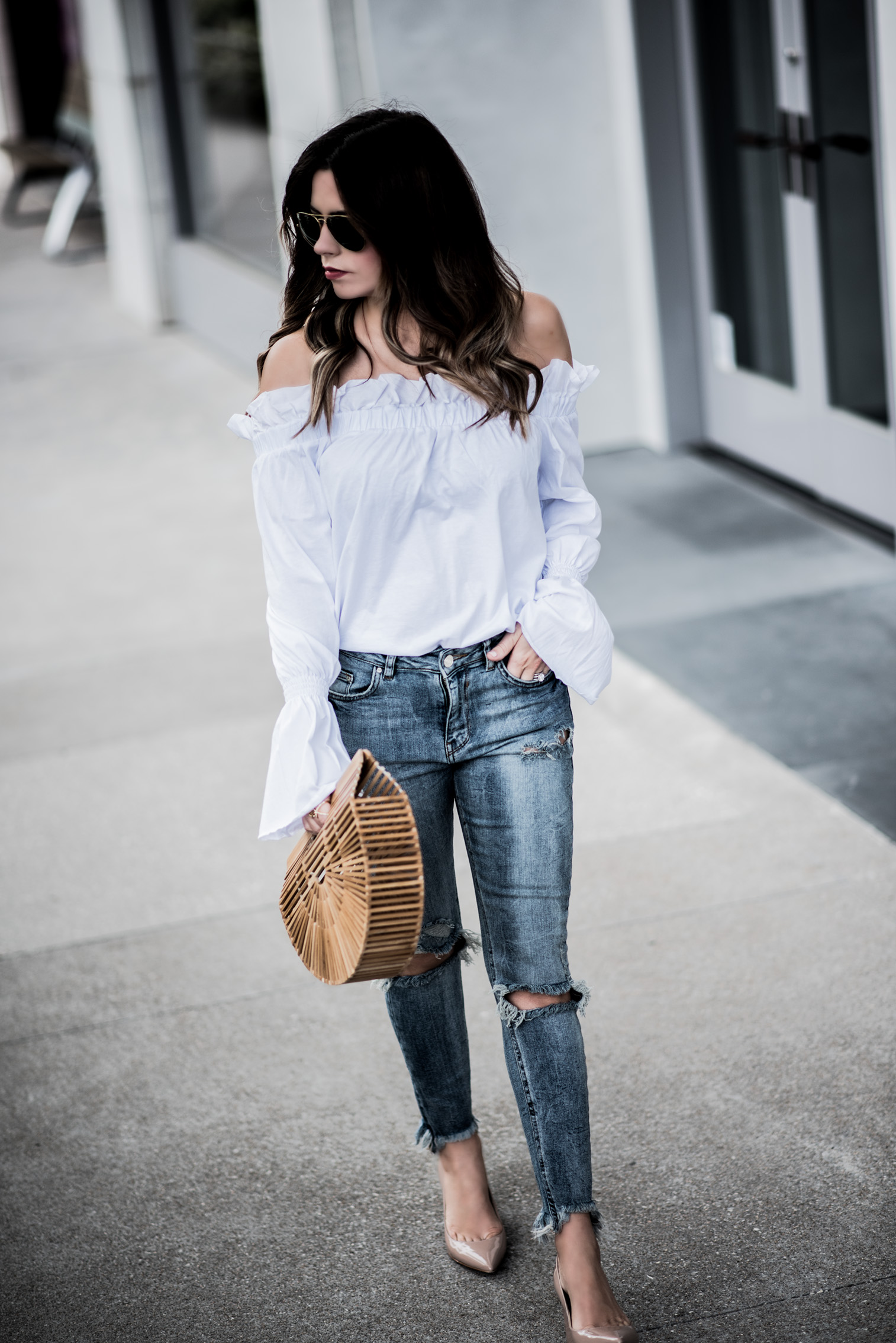 Tiffany Jais Houston fashion blogger rounding up 10 off the shoulder tops for spring | Outfit ideas for spring