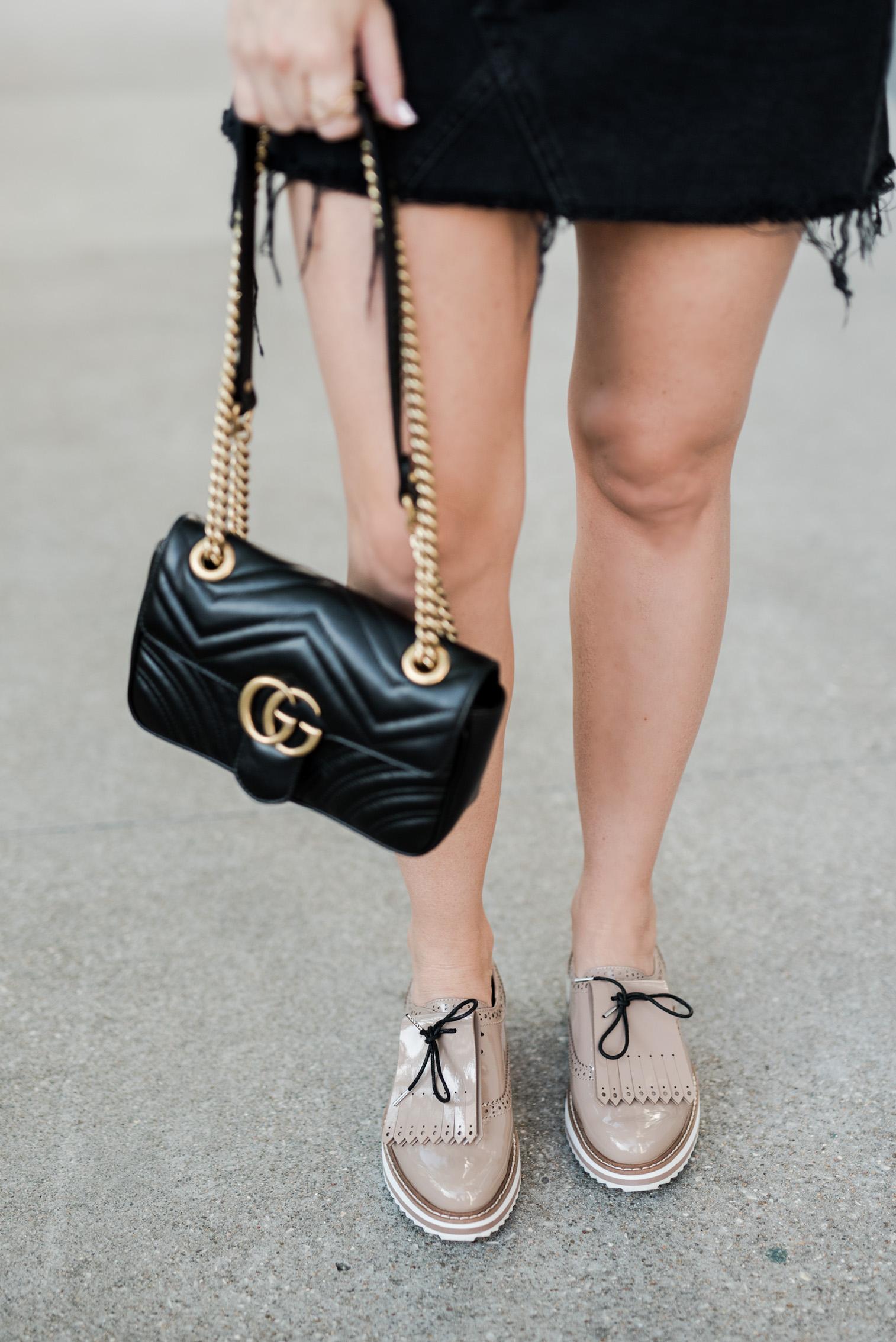 Tiffany Jais Houston fashion and lifestyle blogger | T-shirt obsessed, platform oxfords, gucci Marmont bag, black denim skirt,