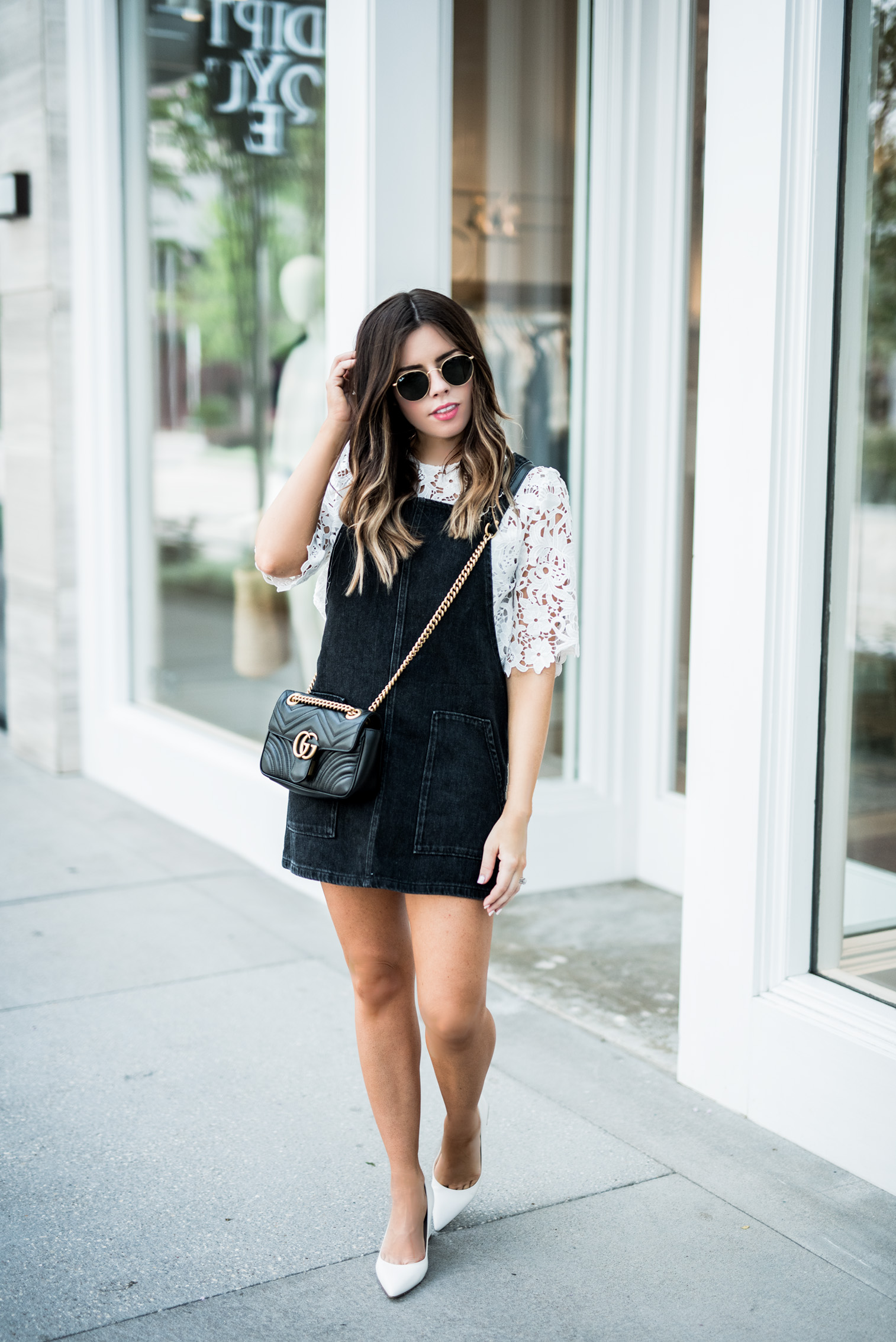 Tiffany Jais Houston fashion and lifestyle blogger | Black pinafore dress | white lace top, white pumps, Gucci marmot, street style, casual outfit ideas