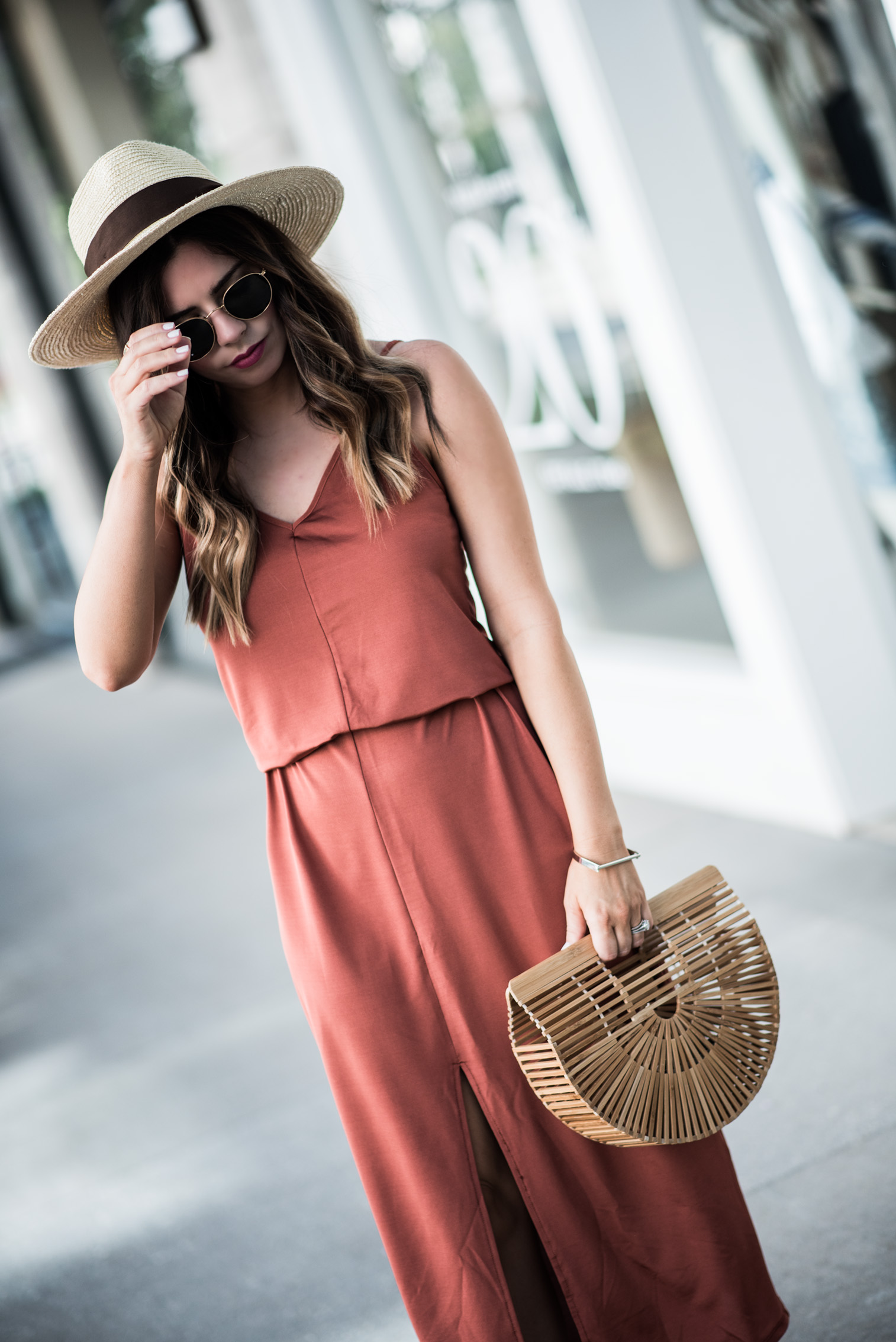 Tiffany Jais Houston fashion and lifestyle blogger | Currently trending- the slip maxi dress | casual outfits, brixton willow hat, cult gaia bag