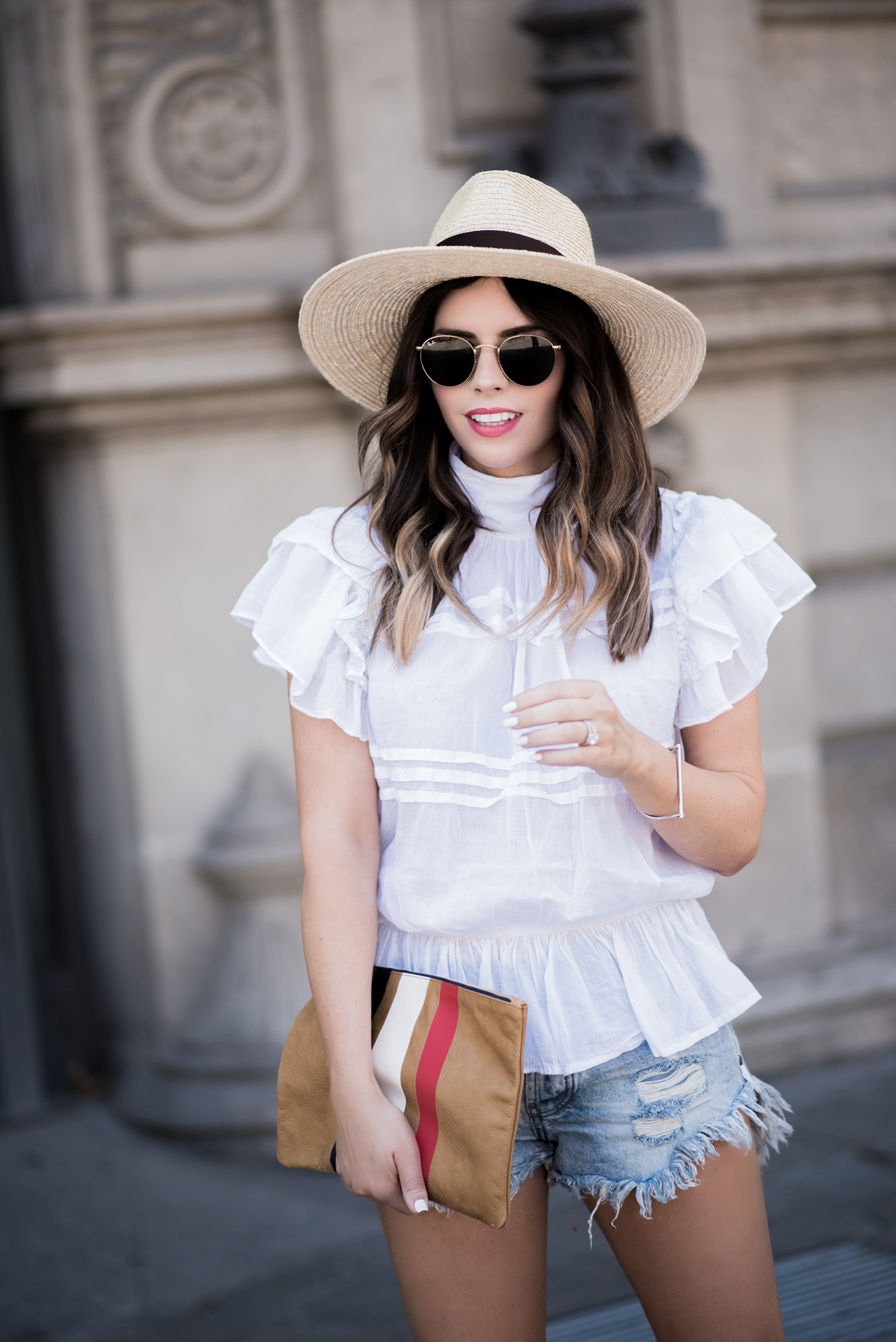 Tiffany Jais Houston fashion and lifestyle blogger   Happy 4th-The Barcelona Edition   White ruffle blouse, Brixton Willow Hat, Clare V Clutch, One Teaspoon Brandos Shorts, casual outfits, What to wear on the 4th of July, 4th of July outfit ideas