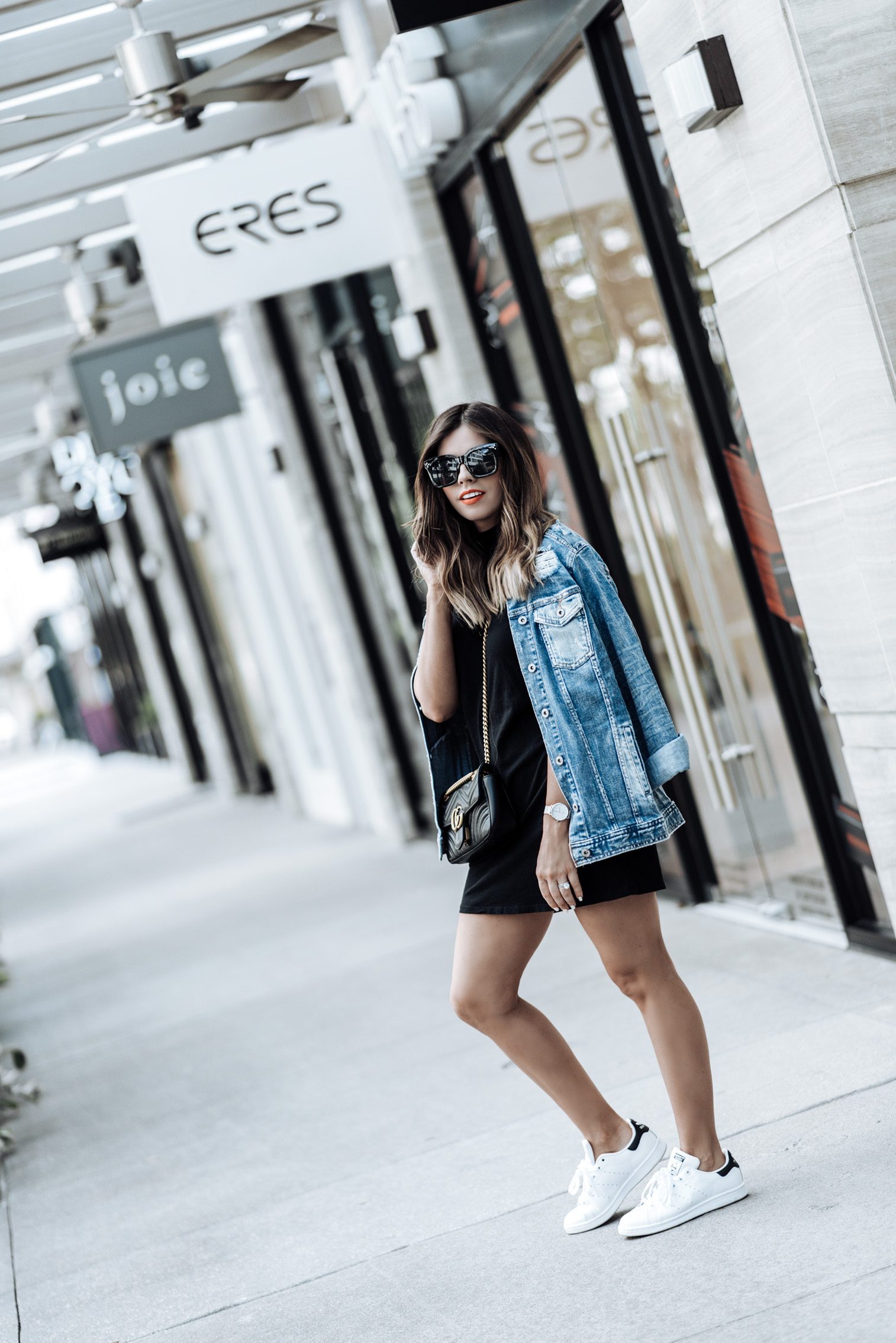 Currently trending / oversized denim jacket | sneaker outfit ideas | Arizona Oversized Denim Jacket | Mock NeckDress | Stan Smith Sneakers | Gucci Marmot Bag| Watch | Houston fashion blogger, street style fashion 2017