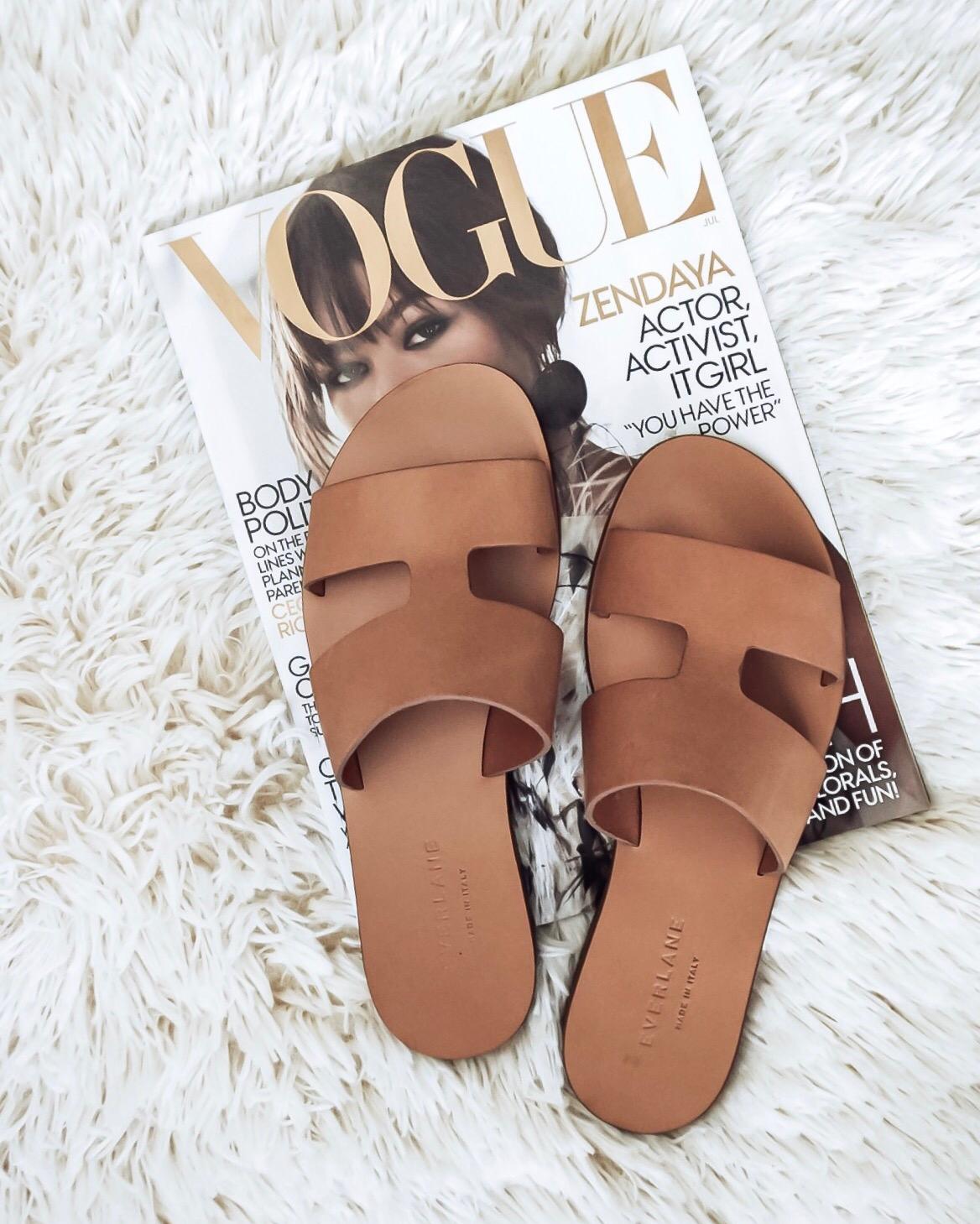 Tiffany Jais Houston fashion and lifestyle blogger | flatlay photo, brown slides