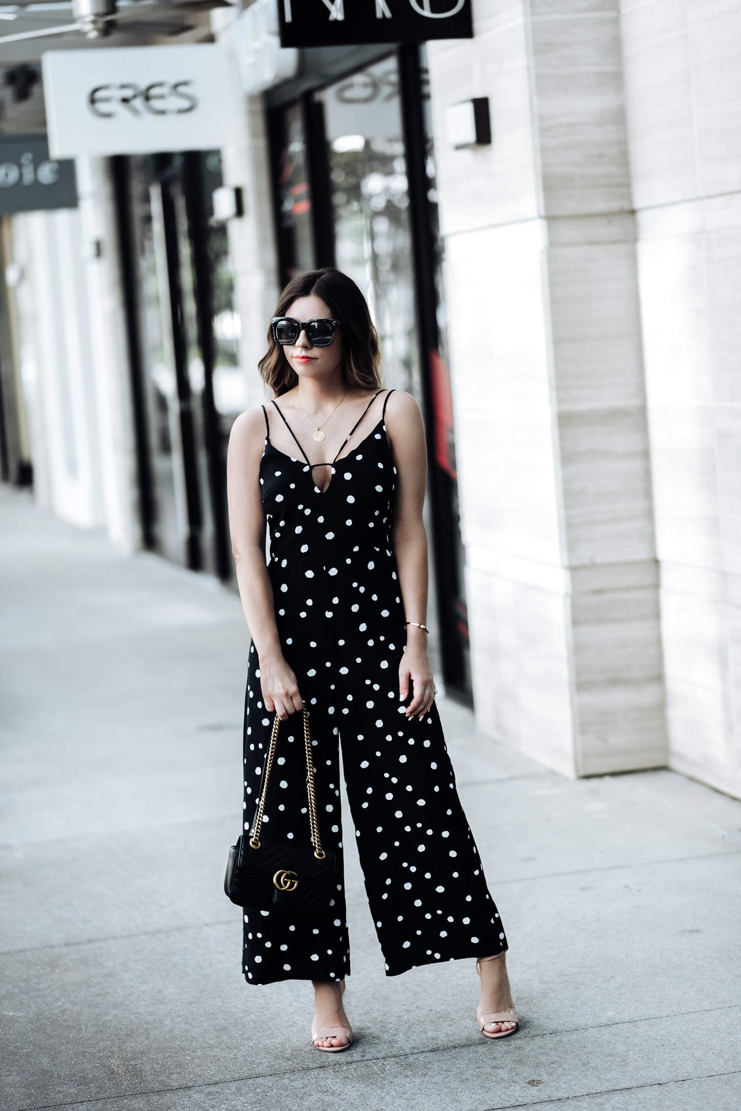 Tiffany Jais Houston fashion and lifestyle blogger | Polka dot jumpsuit from Nordstrom | Gucci Marmot, Mini Marie Pendant, Signature large bangle, Carrson Sandal, Streetstyle blogger
