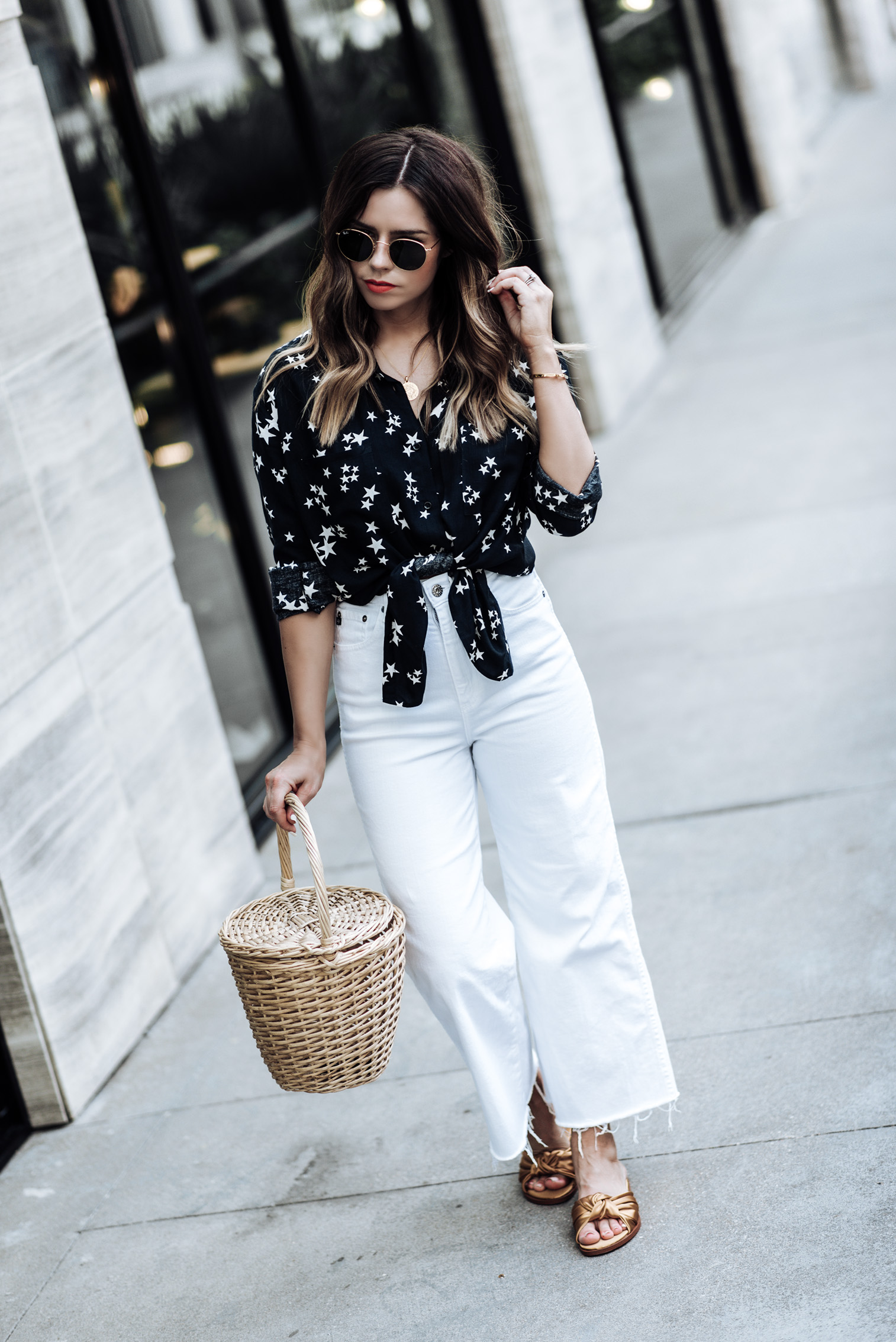 Houston fashion and lifestyle blogger Tiffany Jais | {C/O} The Yvette wide leg pant by AG Jeans | Straw basket bag | Sincerely Jules Ryder shirt | Mini Marie pendant | Satin bow slides (similar here)