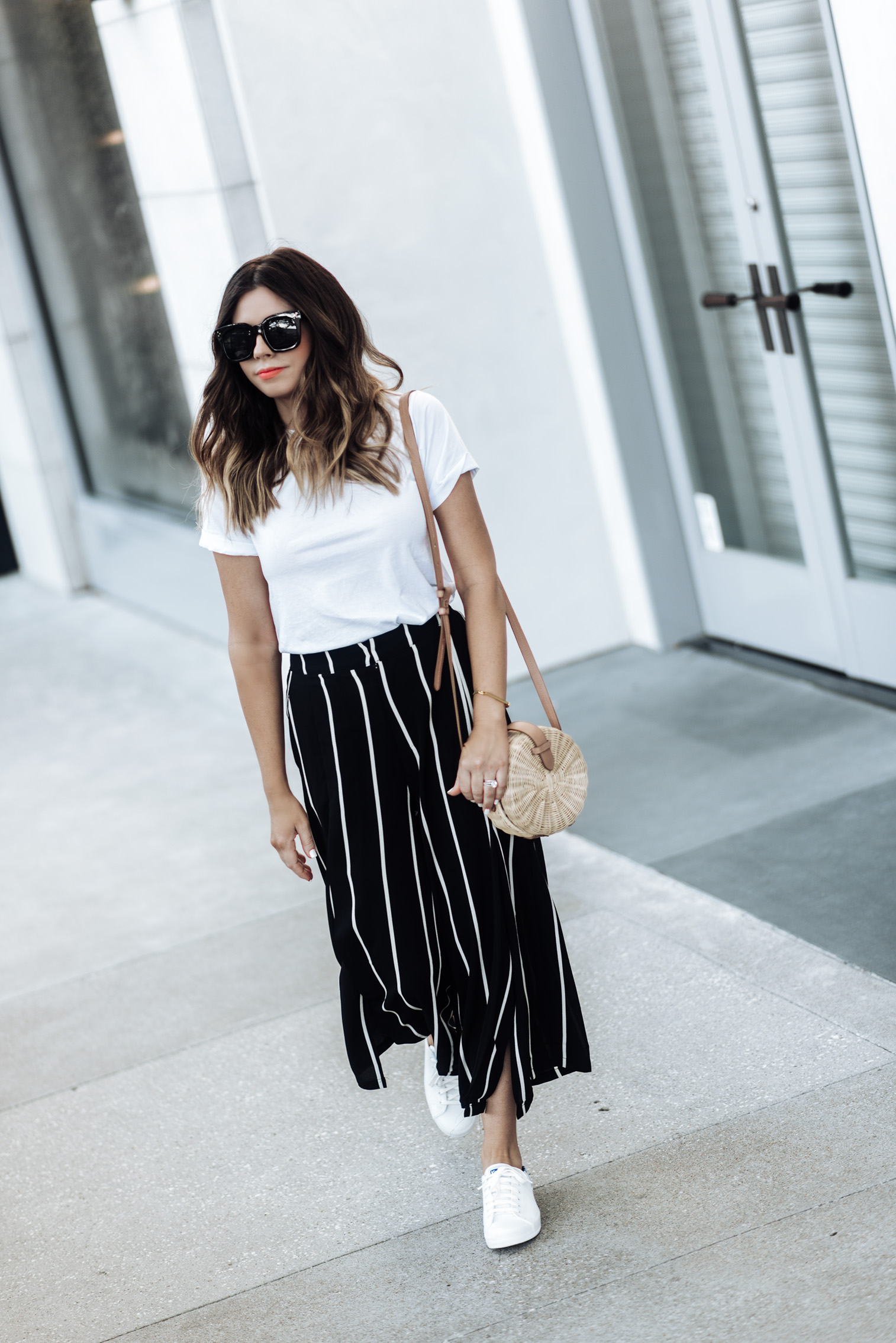Tiffany Jais fashion and lifestyle blogger of Flaunt and Center | Houston fashion blogger | Streetstyle blog | {C/O Keds | Striped pants (Similar style) | White tee (similar) | Bag |