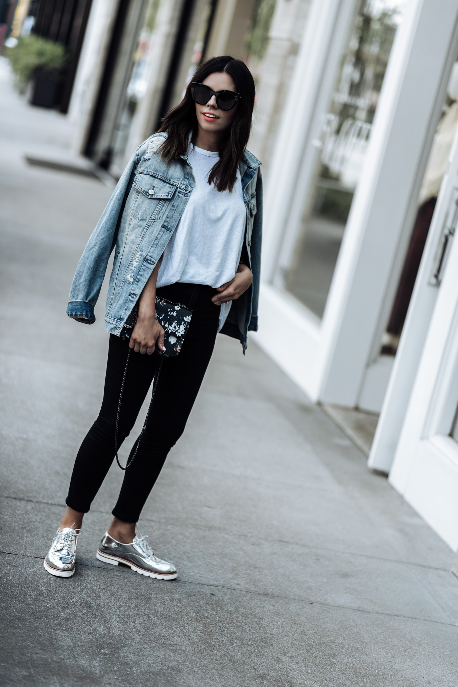 Fall denim with AG and Zappos | Denim jacket outfits | Floral Henri Bendel bag |Tiffany Jais fashion and lifestyle blogger of Flaunt and Center | Houston fashion blogger | Streetstyle blogger