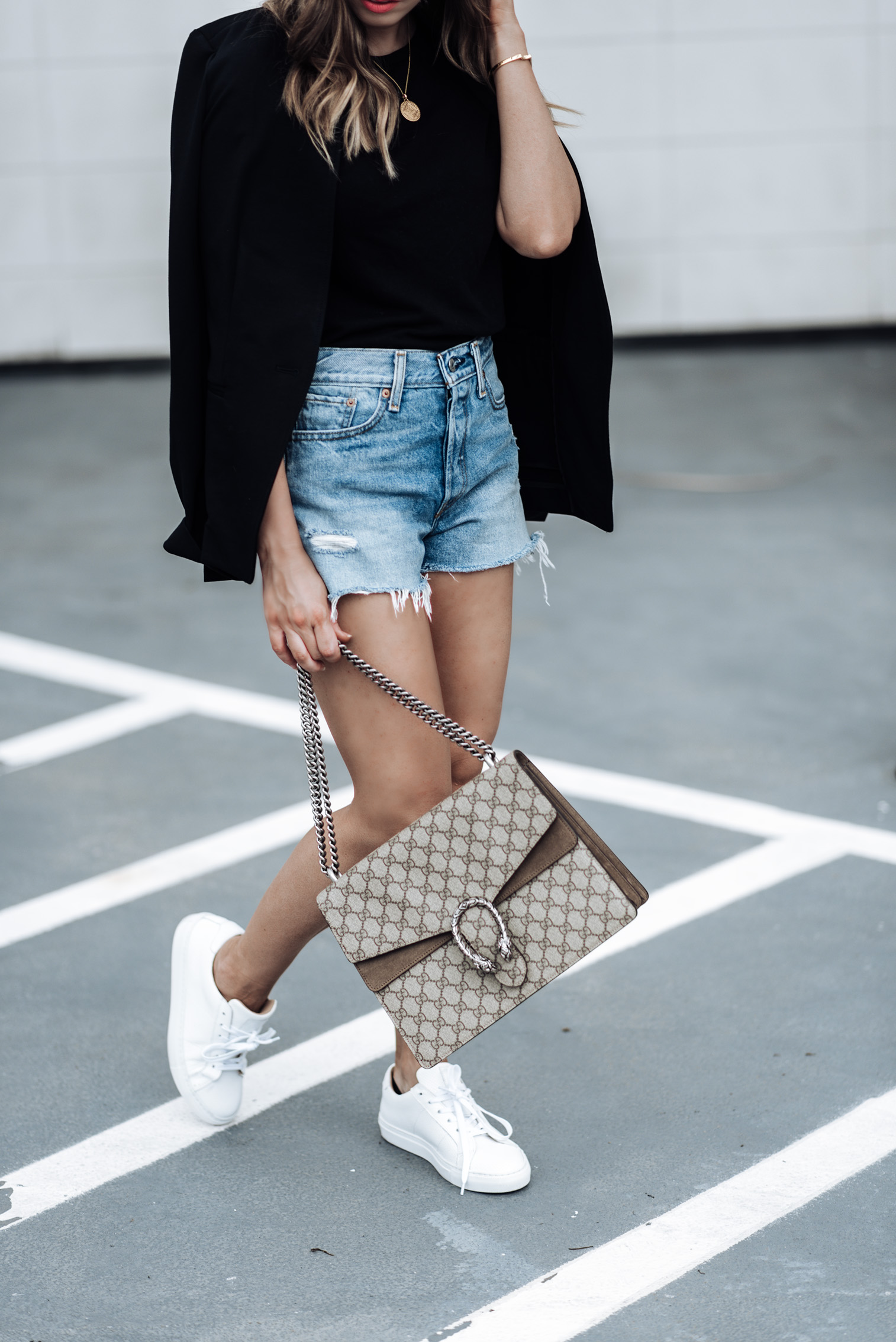 Tiffany Jais Houston fashion and lifestyle blogger   Fall must have pieces with Banana Republic, click to shop the look   Sneaker fashion, Longline Blazer   Basic Black Tee   Greats sneakers   Parker Distressed Denim Shorts   Marie Pendant