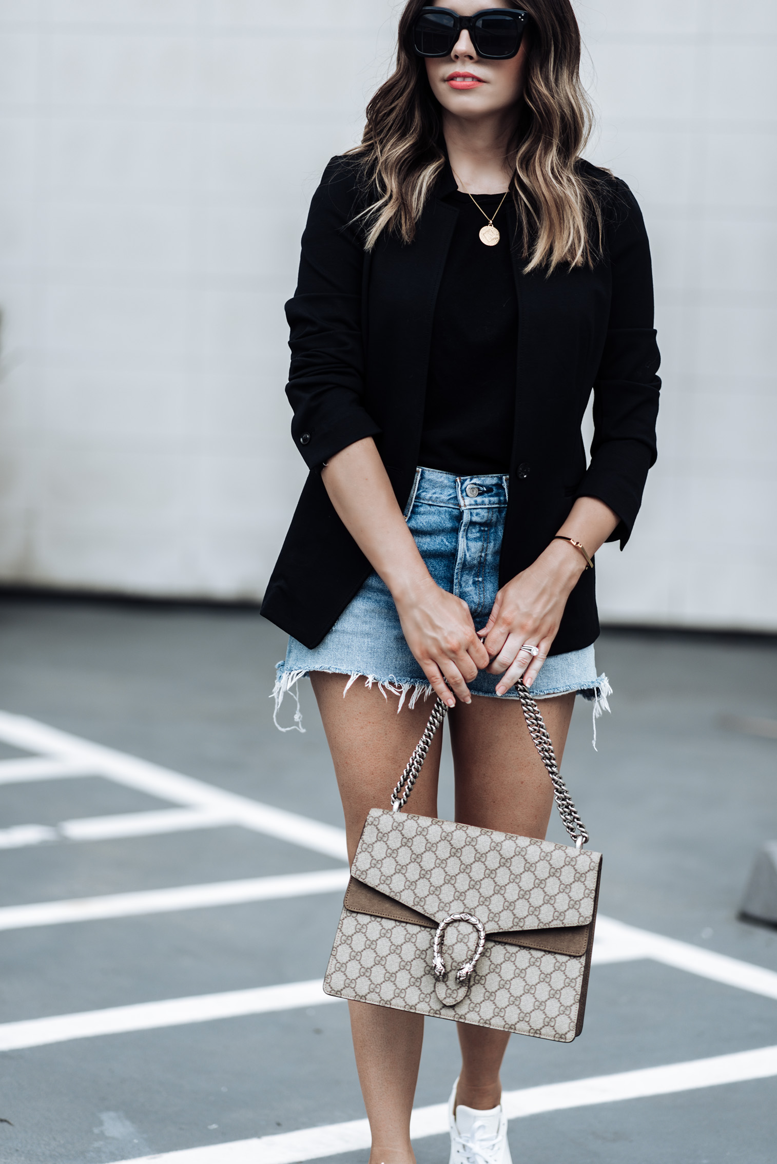Tiffany Jais Houston fashion and lifestyle blogger   Fall must have pieces with Banana Republic, click to shop the look   Sneaker fashion, Longline Blazer   Basic Black Tee   Greats sneakers   Gucci Dionysus bag   Parker Distressed Denim Shorts   Marie Pendant