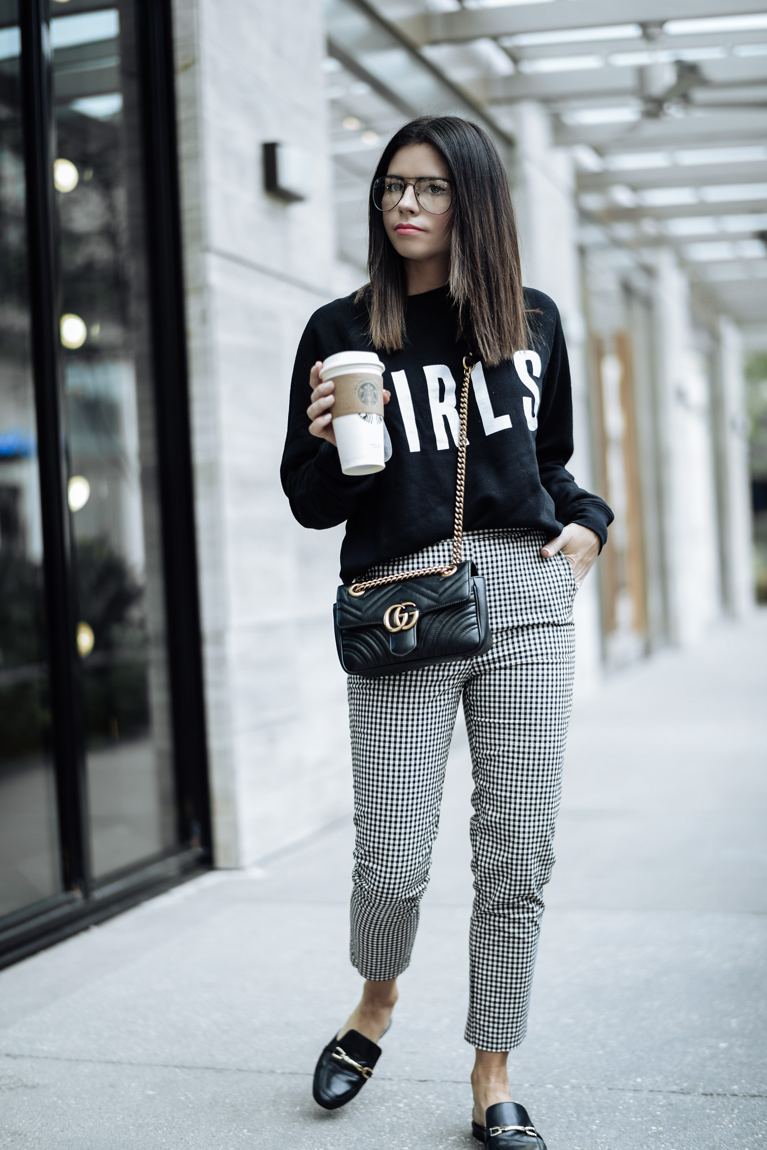 Gingham pants | Tiffany Jais fashion and lifestyle blogger of Flaunt and Center | Houston fashion blogger | Streetstyle blog | Brunette The Label Girls sweatshirt {C/O For bloggers Only} | Gingham pants {Currently 50% off with code get $50} | Black readers | Gucci marmot bag in black |
