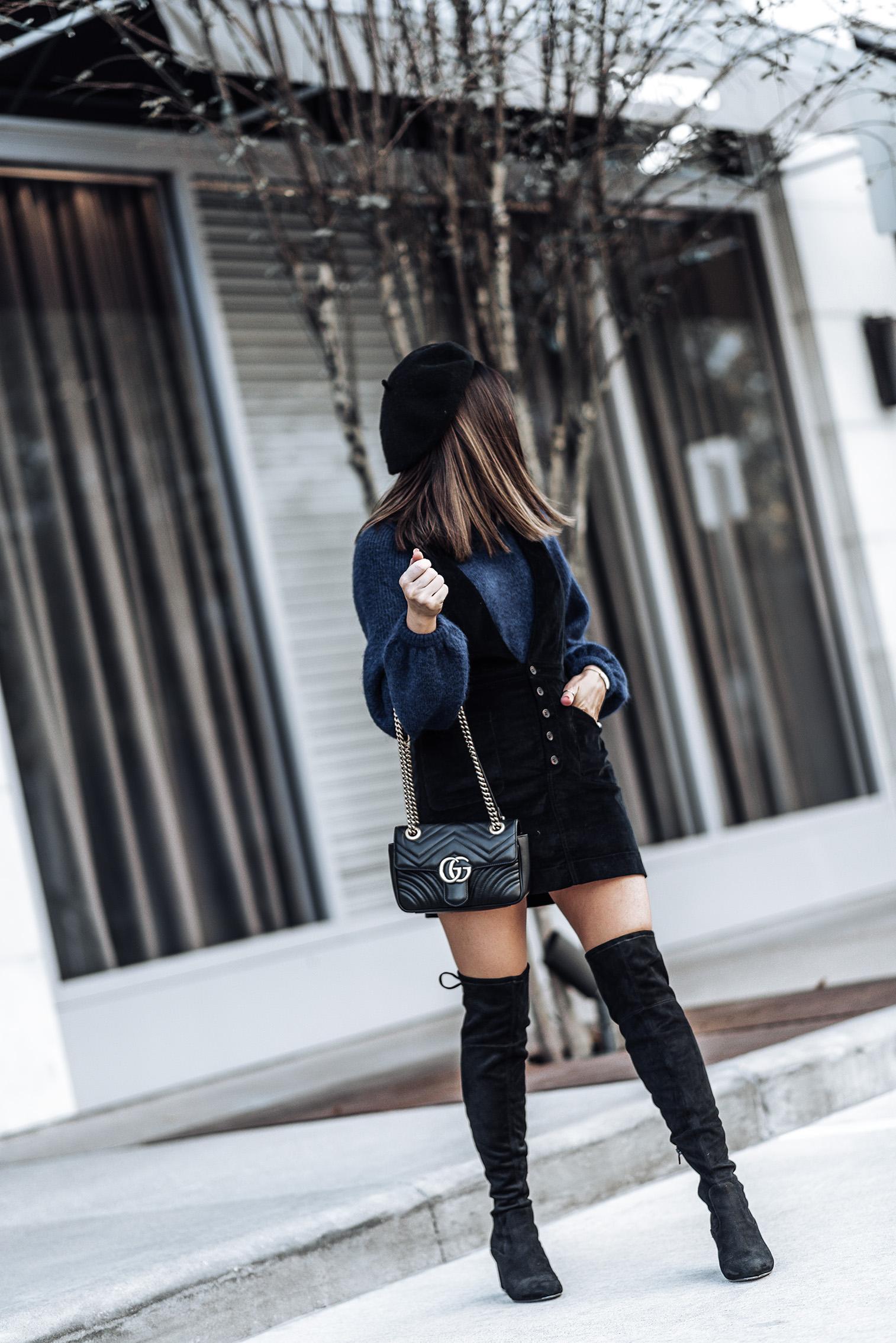 Free People Old School love jumper dress | H&M Sweater | Ivanka Trump Pelinda Over the Knee Boots | Black Wool Beret | #falloutfits #pinaforedress #overthekneebootsoutfits