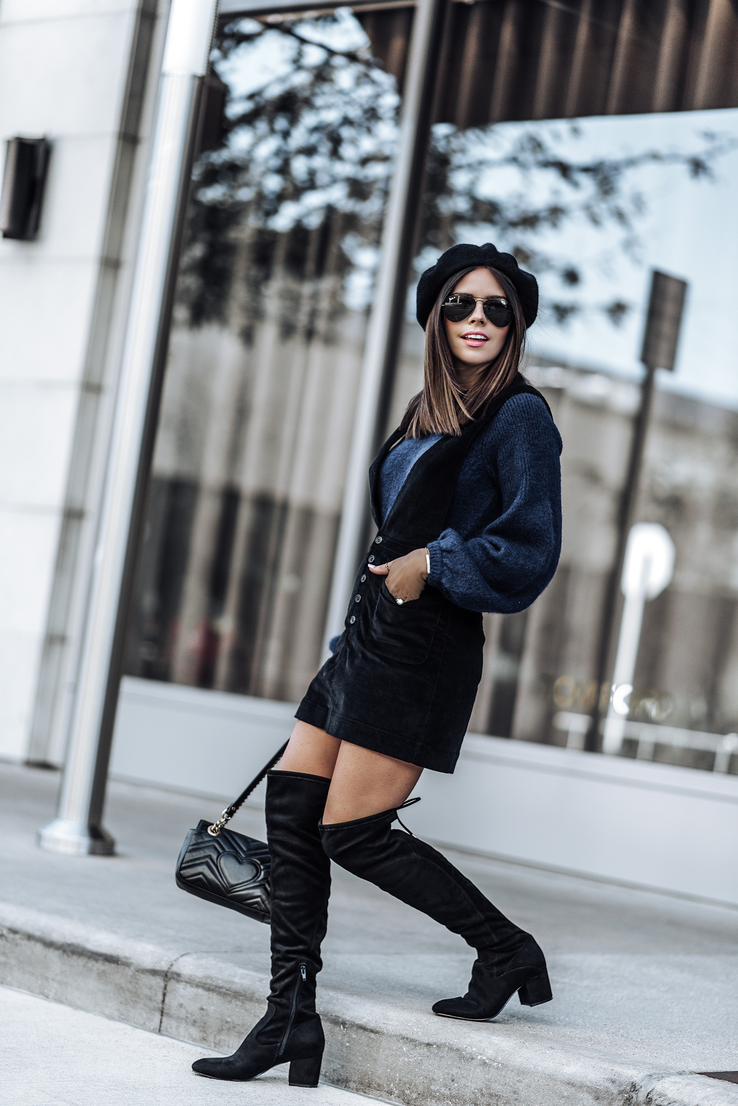 Free People Old School love jumper dress | H&M Sweater |  Ivanka Trump Pelinda Over the Knee Boots | Black Wool Beret | #falloutfits #pinaforedress #overthekneebootsoutfits