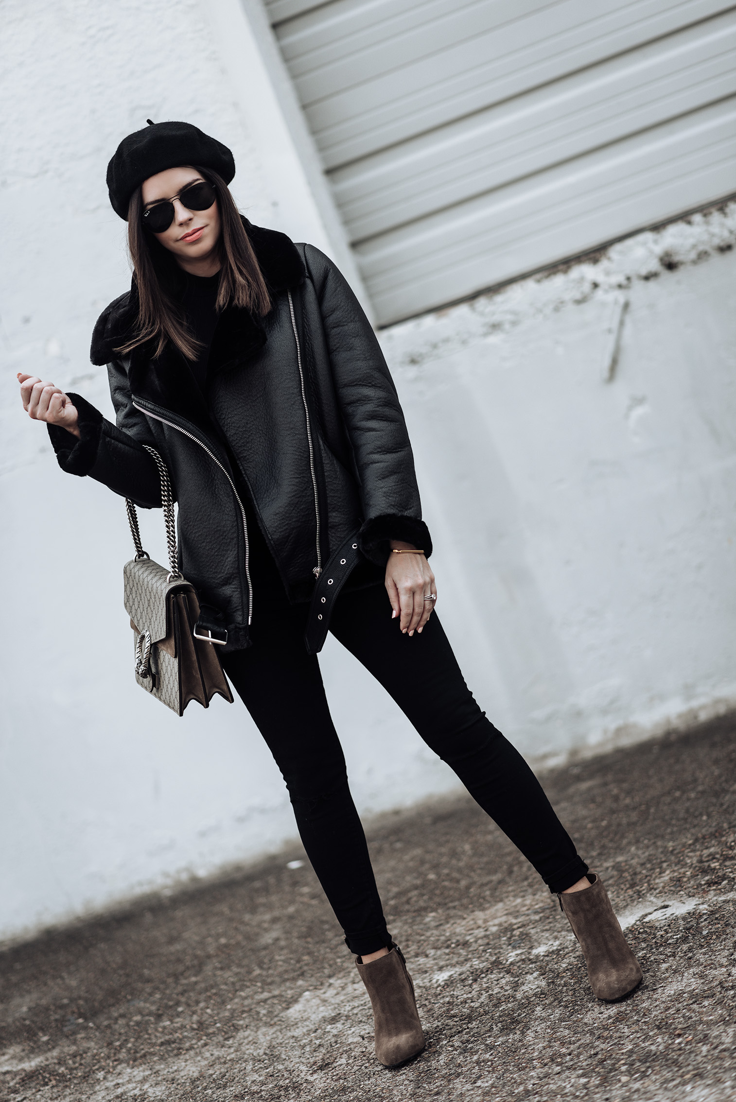 zappos and la canadienne | La Canadienne Donna Boot | Jacket | Jeans | Gucci Bag | Wool Beret| Top | #ankleboots #fallfashion #ootd #falloutfitideas