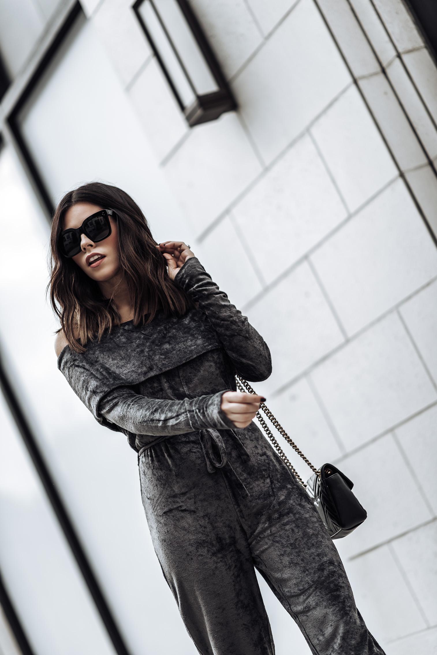 Velvet Jumpsuit | Gucci Bag | Tony Bianco Kashmir heels | Sunglasses #jumsuit #guccibag #holiday outfits