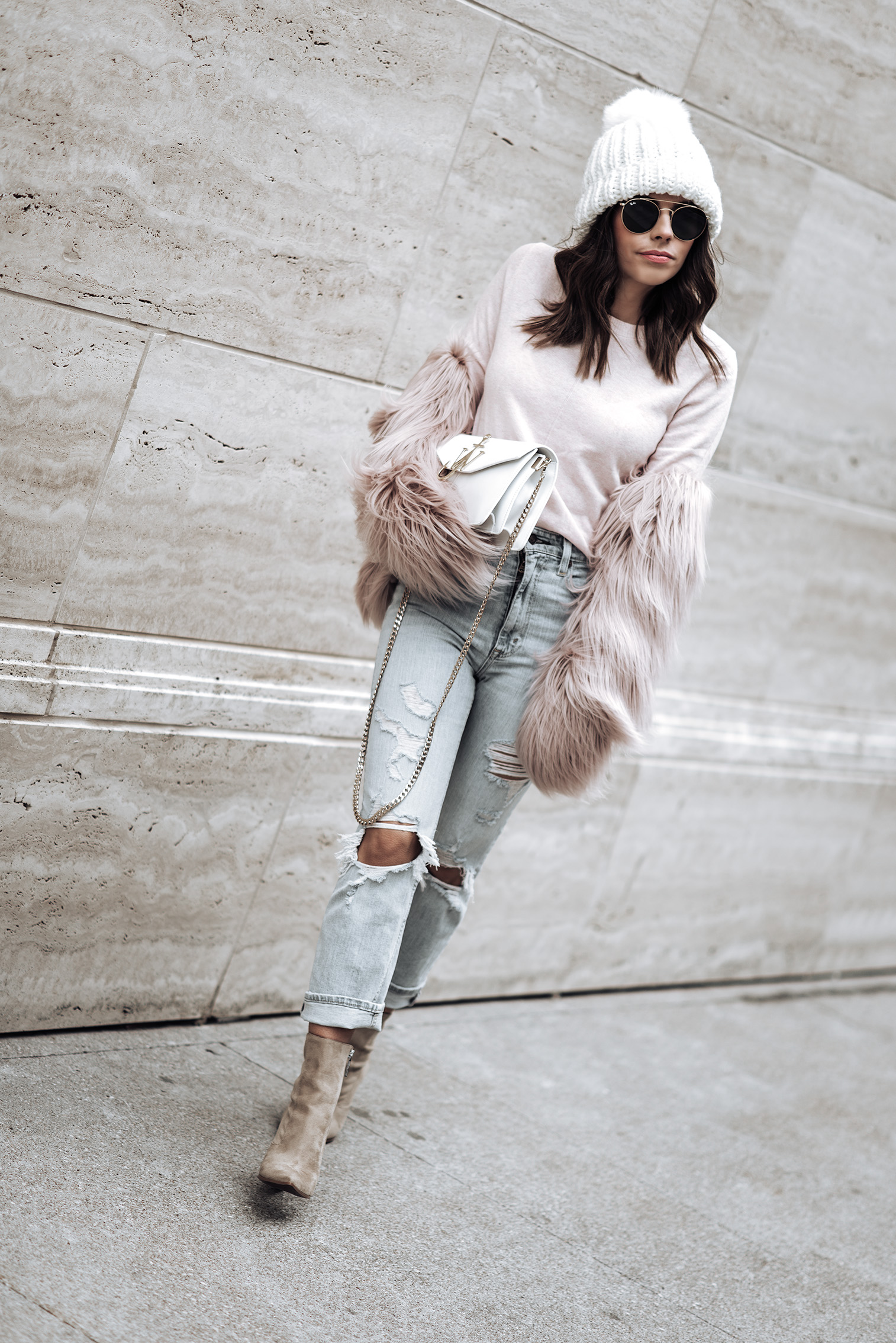 monochrome style | High Rise Ankle Strait Jeans | Italian Super Soft Classic Crew Sweater by Banana Republic  {C/O} | Kendall + Kylie Fallyn Bootie | Unreal Fur Dream Jacket | J.W. Anderson Logo Bag | Sunglasses