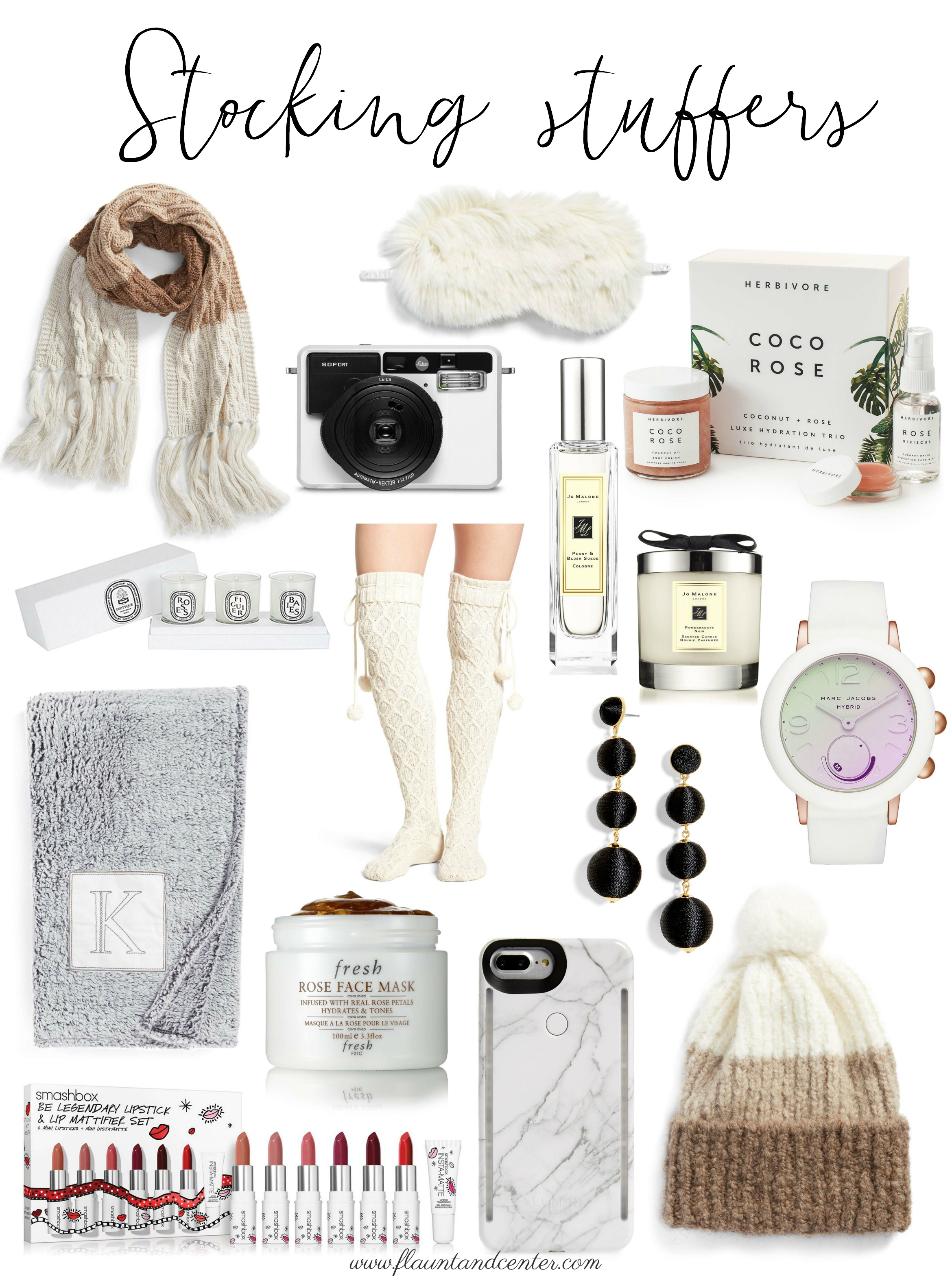 Stocking Stuffers |Scarf | Sofort Instant Camera | Faux Fur Sleep Mask | Coco Rose Lux Hydration Trio | Jo Malone Cologne | Jo Malone Candle | Votive Candle Set | Cable Knit Over the Knee Socks | Marc Jacobs Riley Hybrid Smartwatch | Monogram Throw Blanket | Fresh Rose Face Mask | Ball Shoulder Duster Earrings | iPhone Lighted Case | Lipstick Set | Tricolor Pom Beanie |