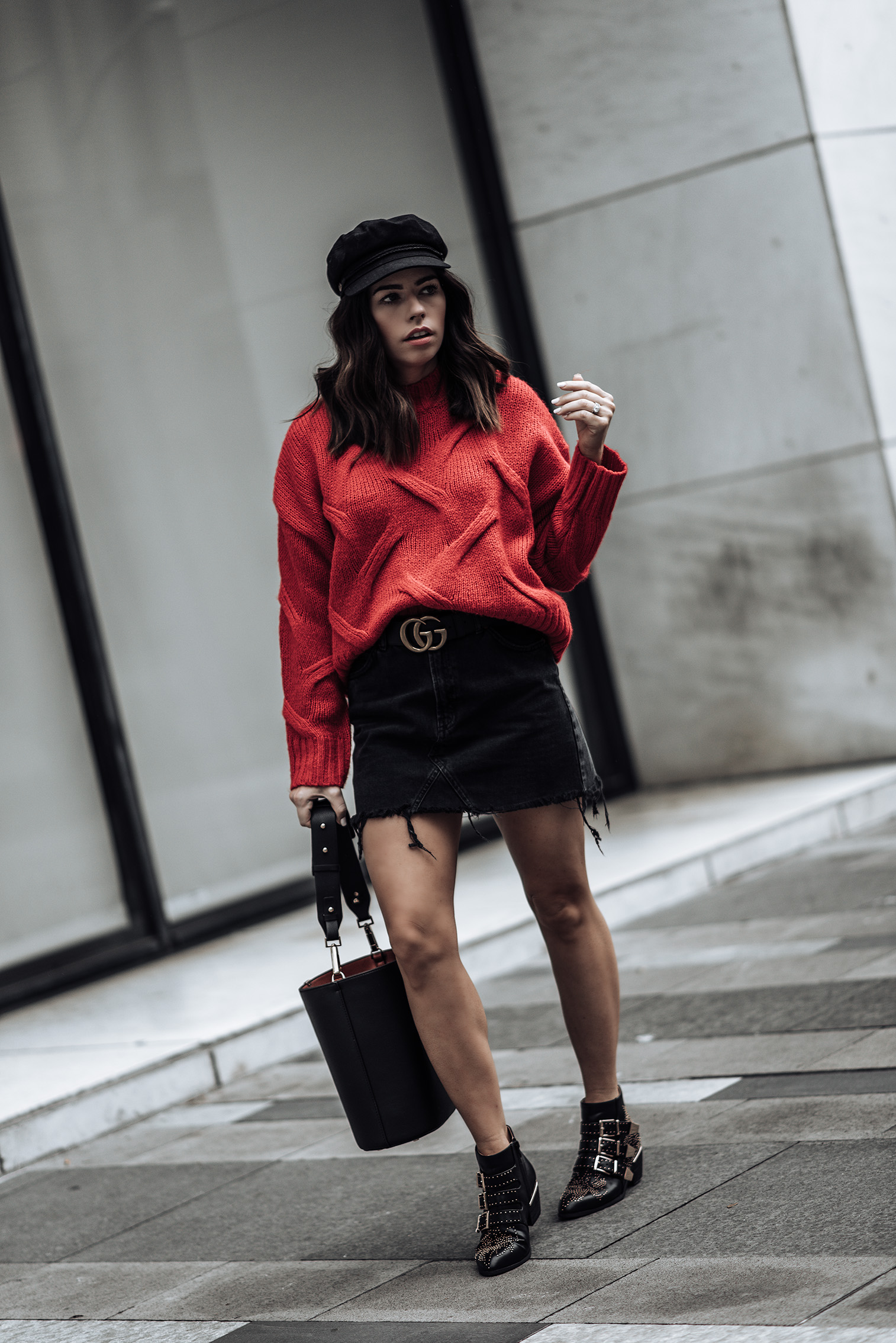 Red & Black   Red knit sweater (similar here and here)   Bucket bag (similar style here for only $25)   Black denim high waist mini skirt   Gucci Belt