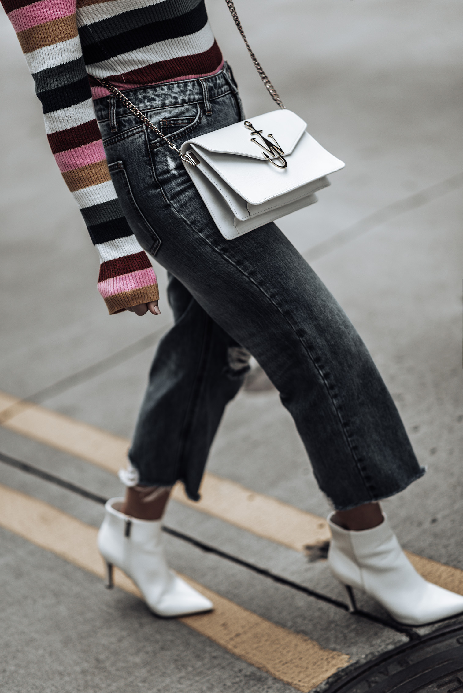 Bold striped sweater via Forever21 | Wide leg denim (similar style here) | J.W. Anderson bag | White ankle boots | White oversized chunky knit beanie |  street style 2018 #streetstyle #jwanderson #outfitideas