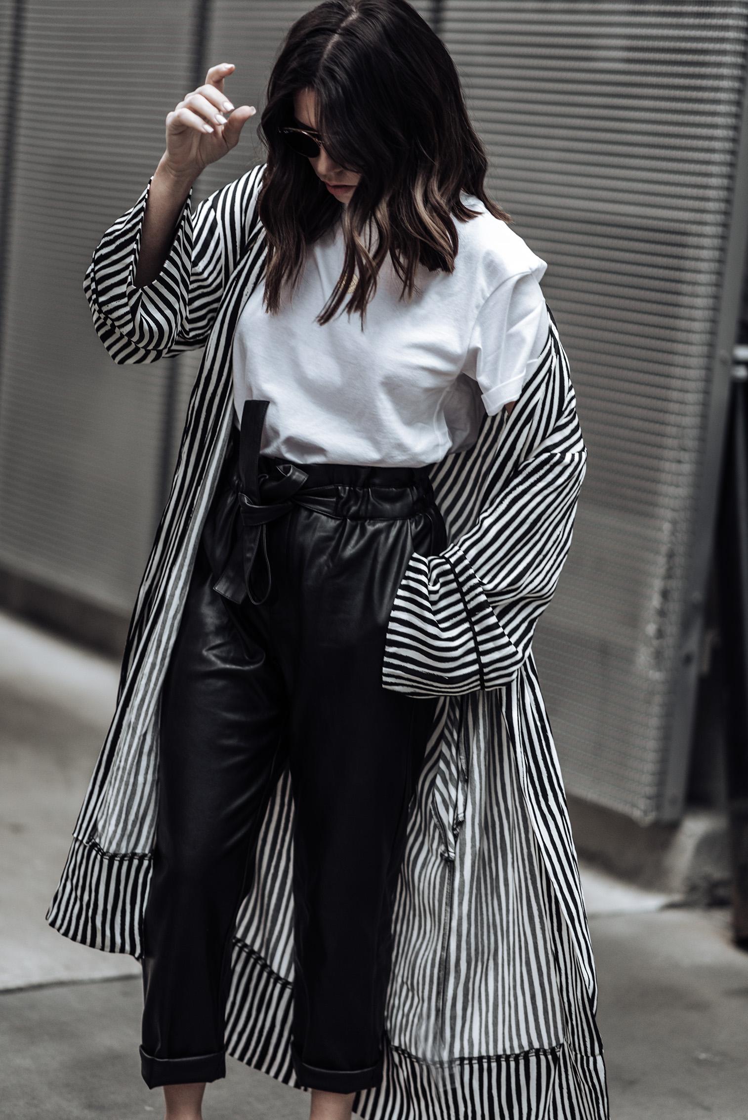 Leather tie waist pants (From Mango, identical here) | Stripe Kimono (Zara, similar here) | Slingback heels in black | Camilia Crossbody Box Bag| Mini Marie Pendant |Hanes X Karla tee (runs large, size down)