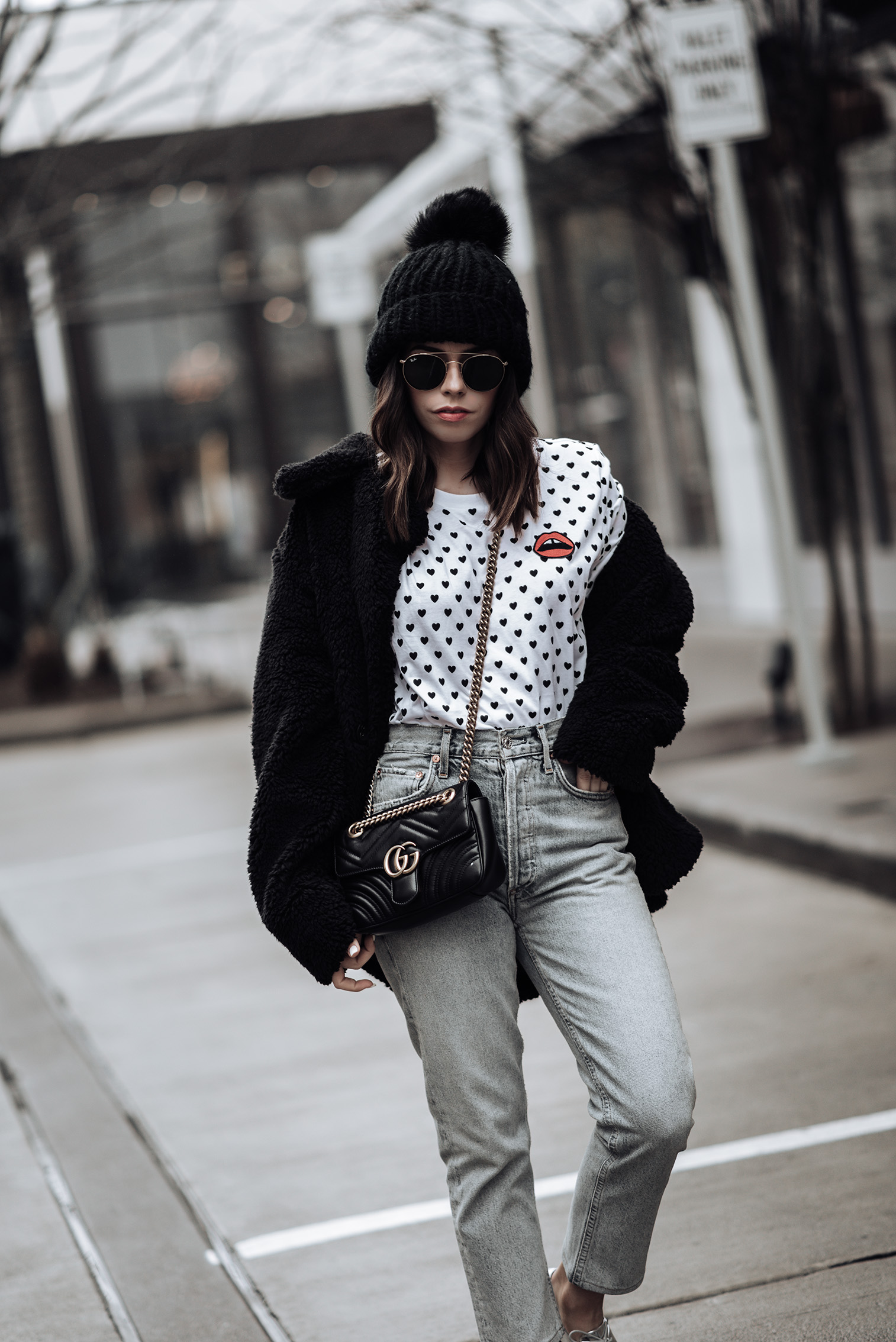 Mini Heart Lara Tee | Agolde Riley High Rise Strait Crop Jean | Stuart Weitzman Oxfords | Beanie | Teddy Pea Coat #shopbop #liketkit #streetstyle