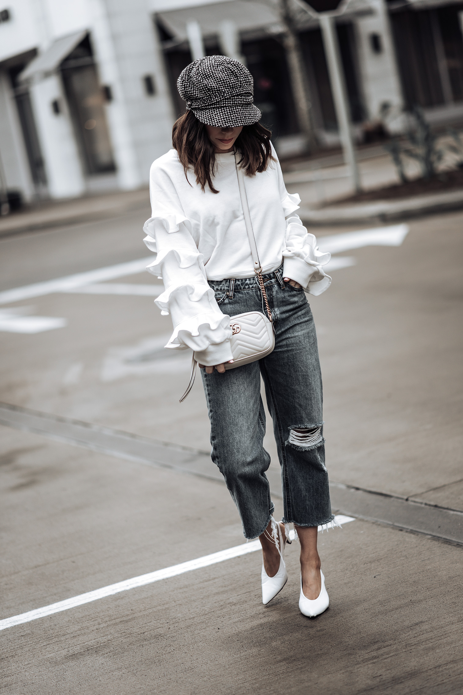 Ruffle details |Ruffle Sleeve Terry Pullover (similar) | Gucci GG Marmont bag | Jeans (similar) | Tweed Baker's Boy Cap | White Slingback Heels  #bakerhat #liketkit #slingbackheels #streetstyle
