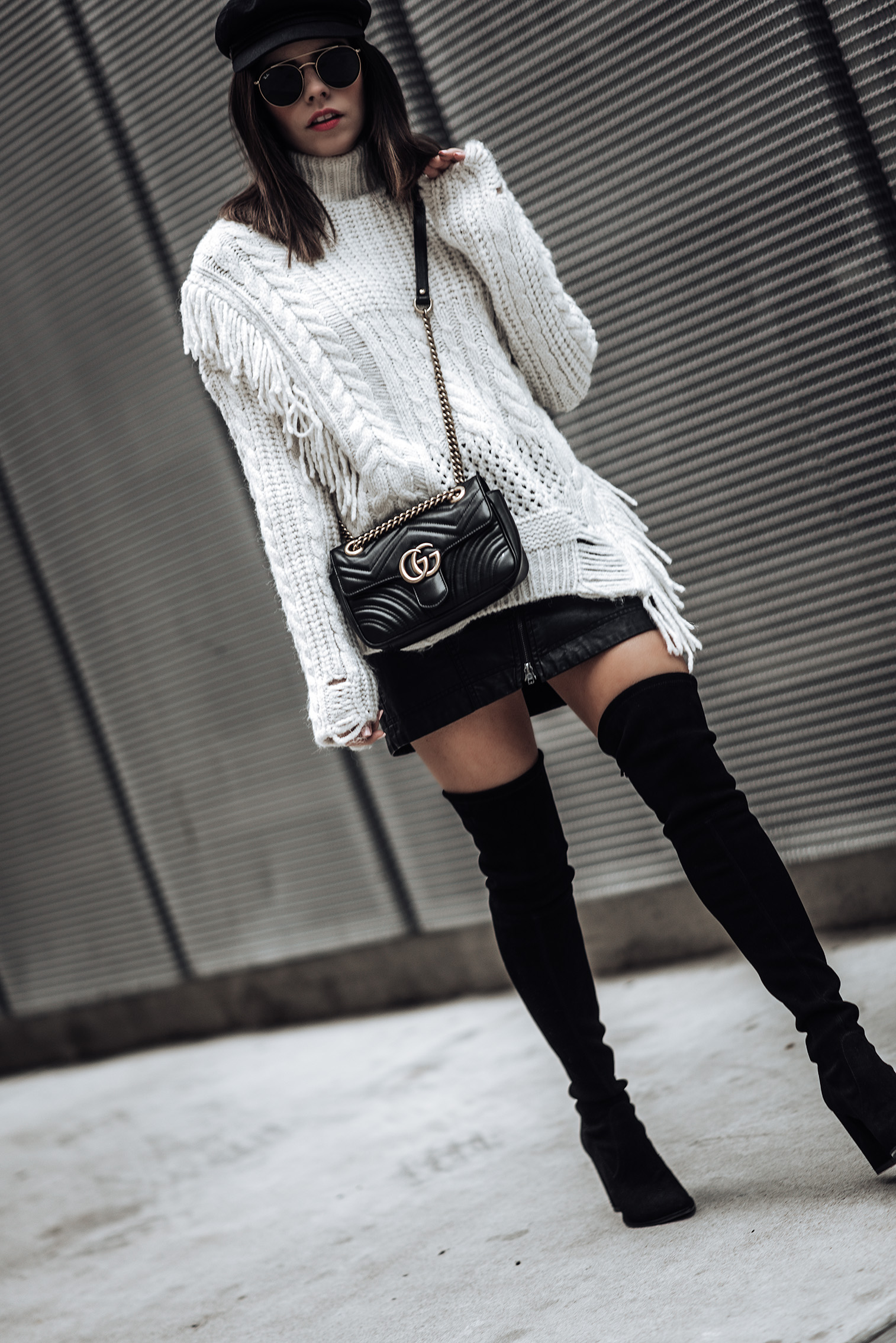 Texture | Chunky Cable Knit Sweater | Free People Vegan Mini skirt | Gucci Marmont Bag | Stuart Weitzman Funland Boots | #streetstyle #fashionblog #liketkit