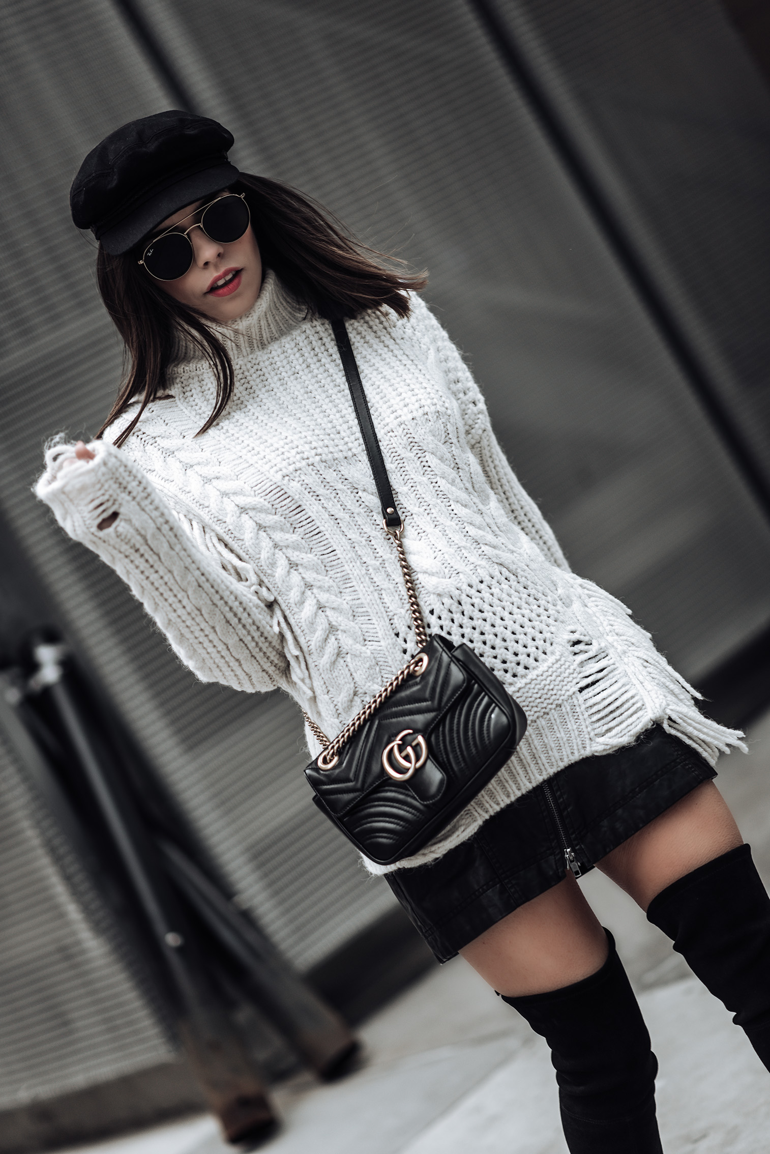 Texture   Chunky Cable Knit Sweater   Free People Vegan Mini skirt   Gucci Marmont Bag   Stuart Weitzman Funland Boots  