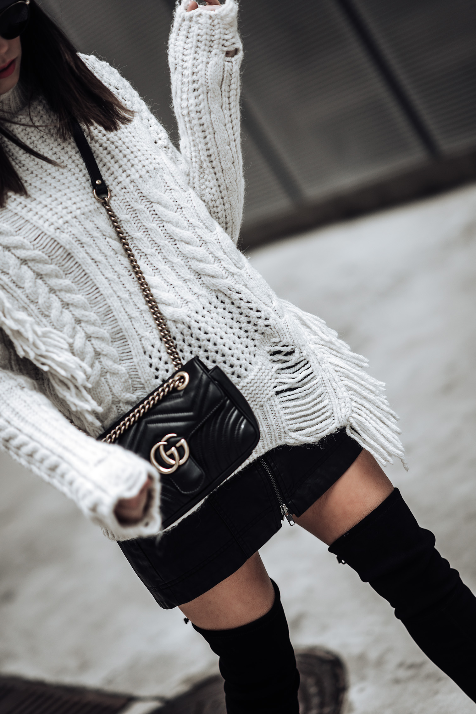 Texture   Chunky Cable Knit Sweater   Free People Vegan Mini skirt   Gucci Marmont Bag   Stuart Weitzman Funland Boots   #streetstyle #fashionblog #liketkit