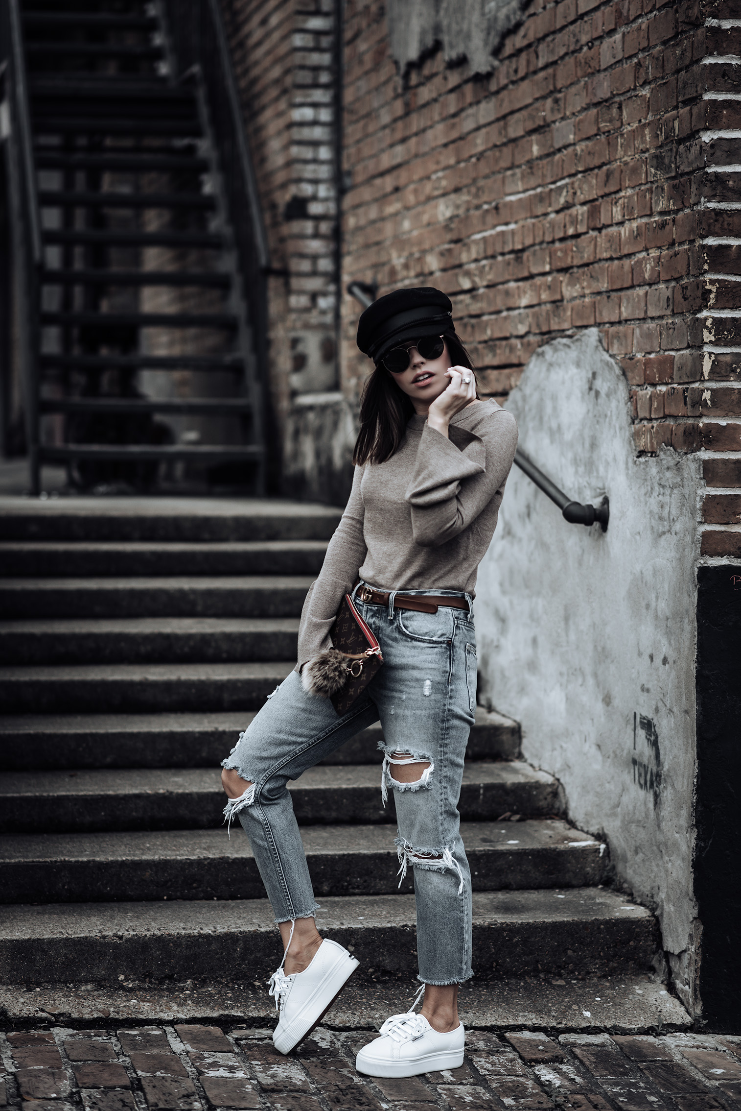 Trend report - The accessories edition   Trumpet Sleeve Sweater   Fiddler Cap   Karolina GRLFRND Denim   Brown Gucci Belt   Supergra Platform Sneakers  