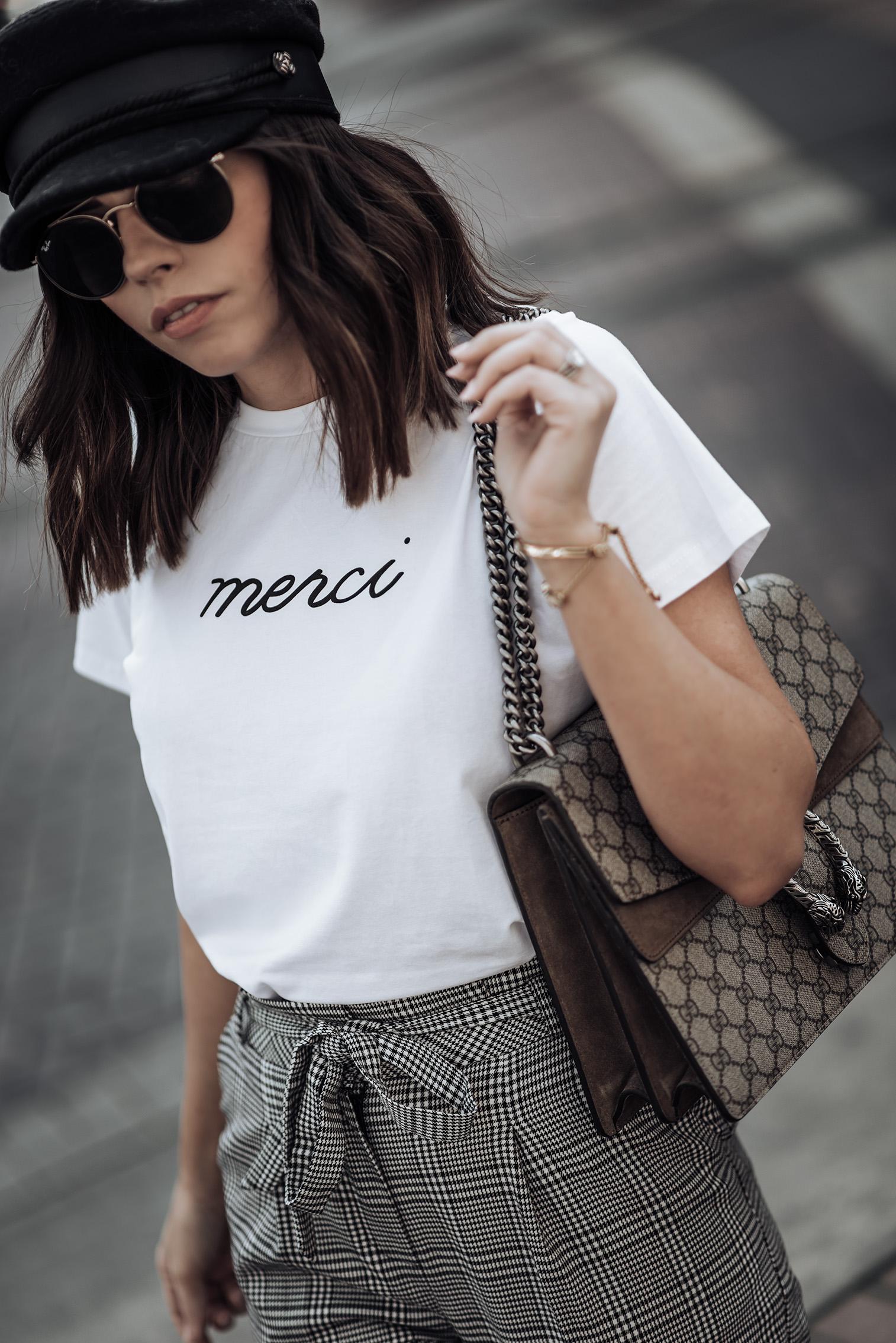 Check print | Merci Beaucoup tee | Check pants (Topshop, similar here) | Cap | Superga Platform sneakers | Gucci Dionysus #streetstyle #checkprint #sneakeroutfits #bakershat #liketkit #shopstyle