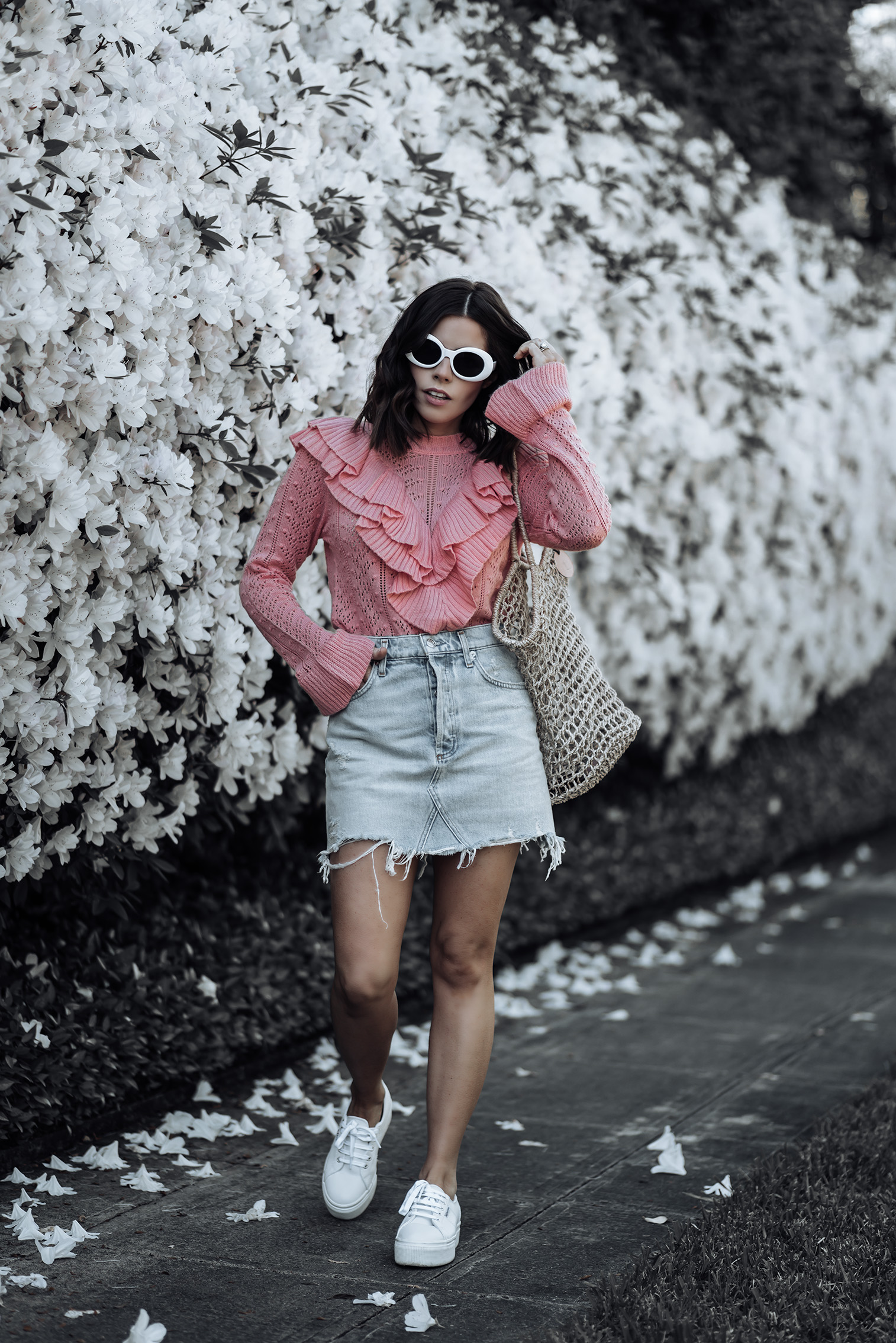 Manny Tularosa Sweater | Agolde High Waisted Skirt | Marina Basket Tote | {C/O} White Oval Shaped Sunnies | Superga Platform Sneakers | #streetstyle #denimskirtoutfits #Tularosa #platformsneakers #liketkit