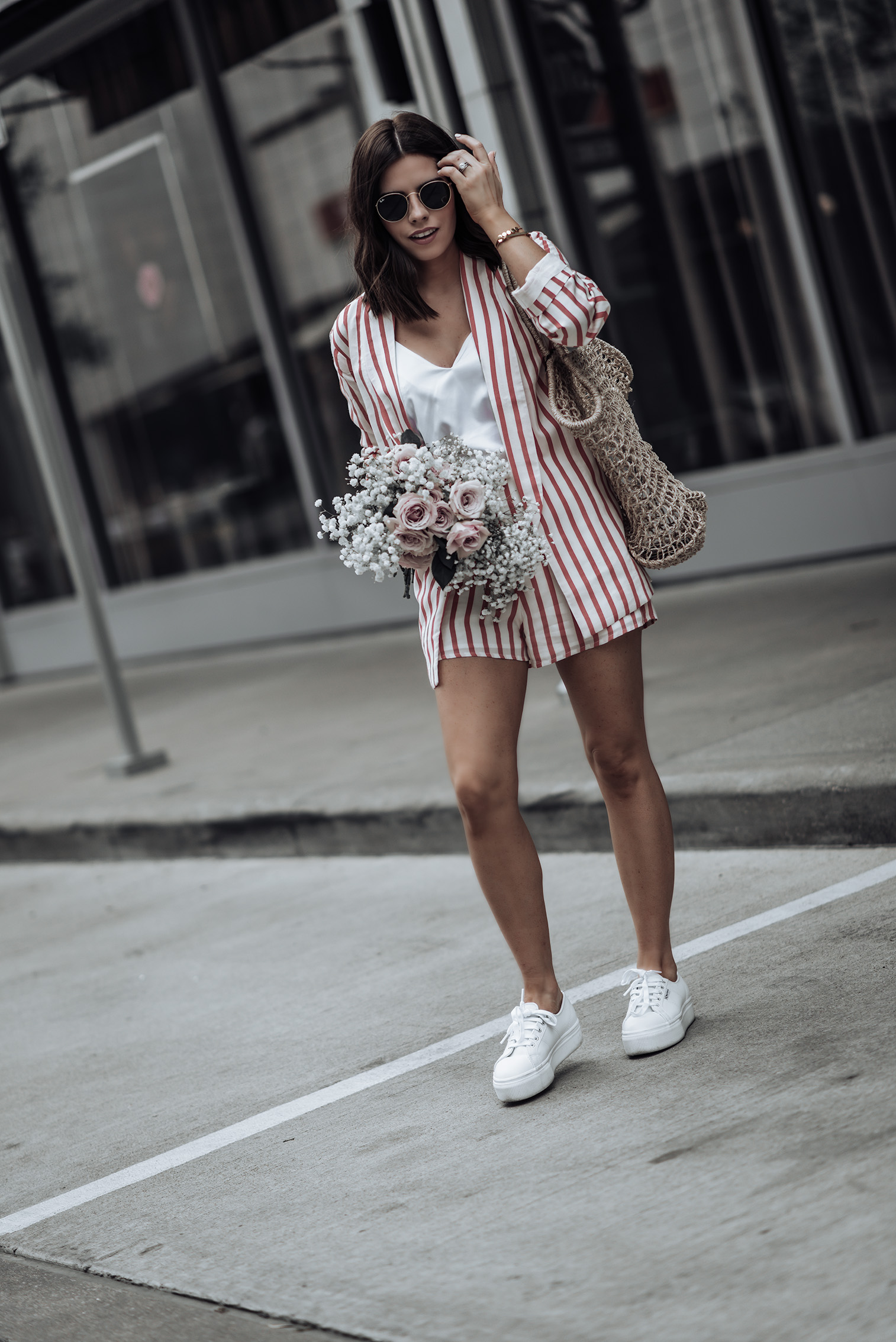Striped Blazer set   L'Academie Adam Shorts   L'Academie Adam Blazer   Reformation bag   Superga Platform Sneakers  Bracelets: Here, & here   #liketkit #revolve #strawbag #lookbook #fashion #streetstyleblog