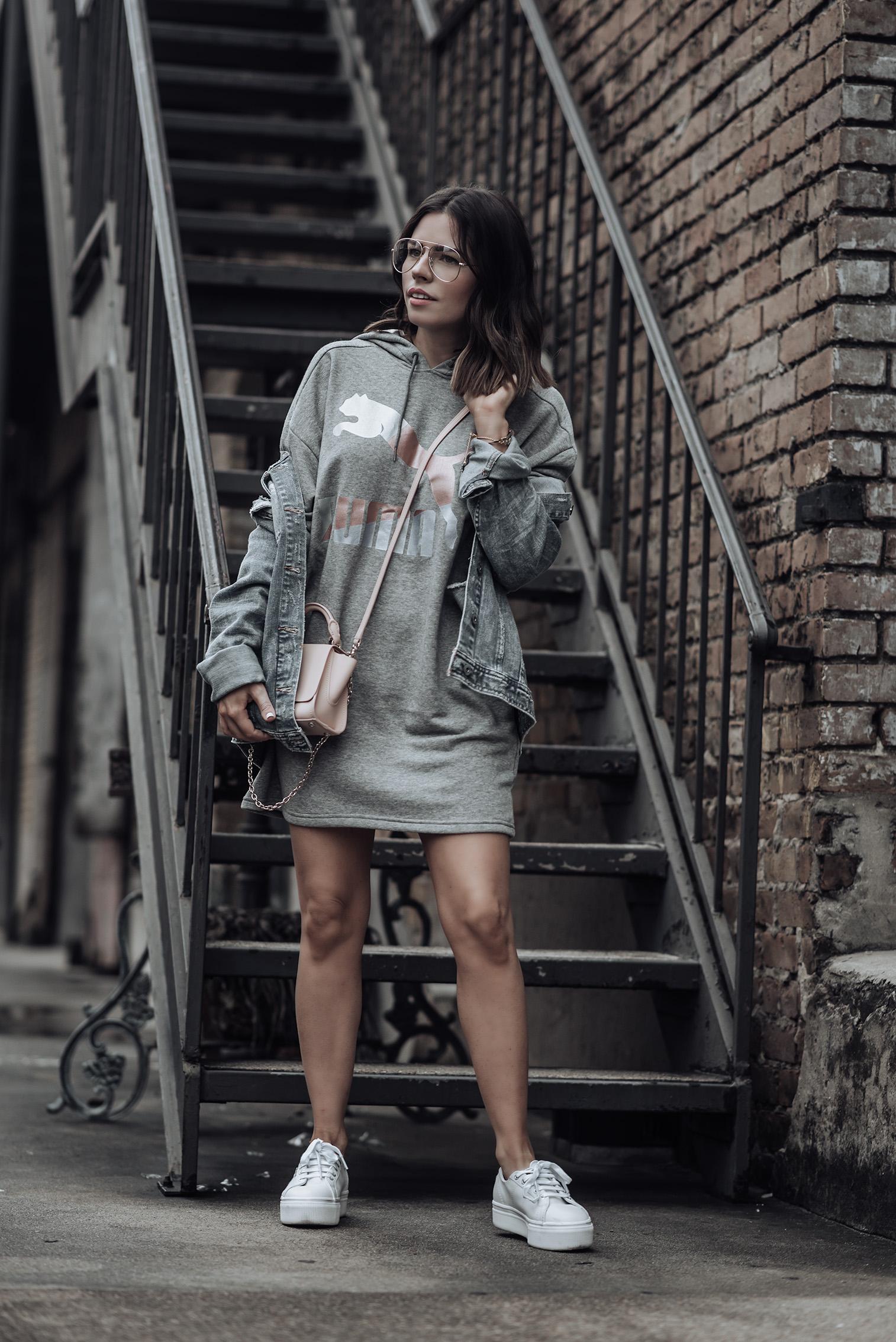 Athleisure wear |Puma Sweatshirt dress | Denim jacket #streetstyle #puma #liketkit