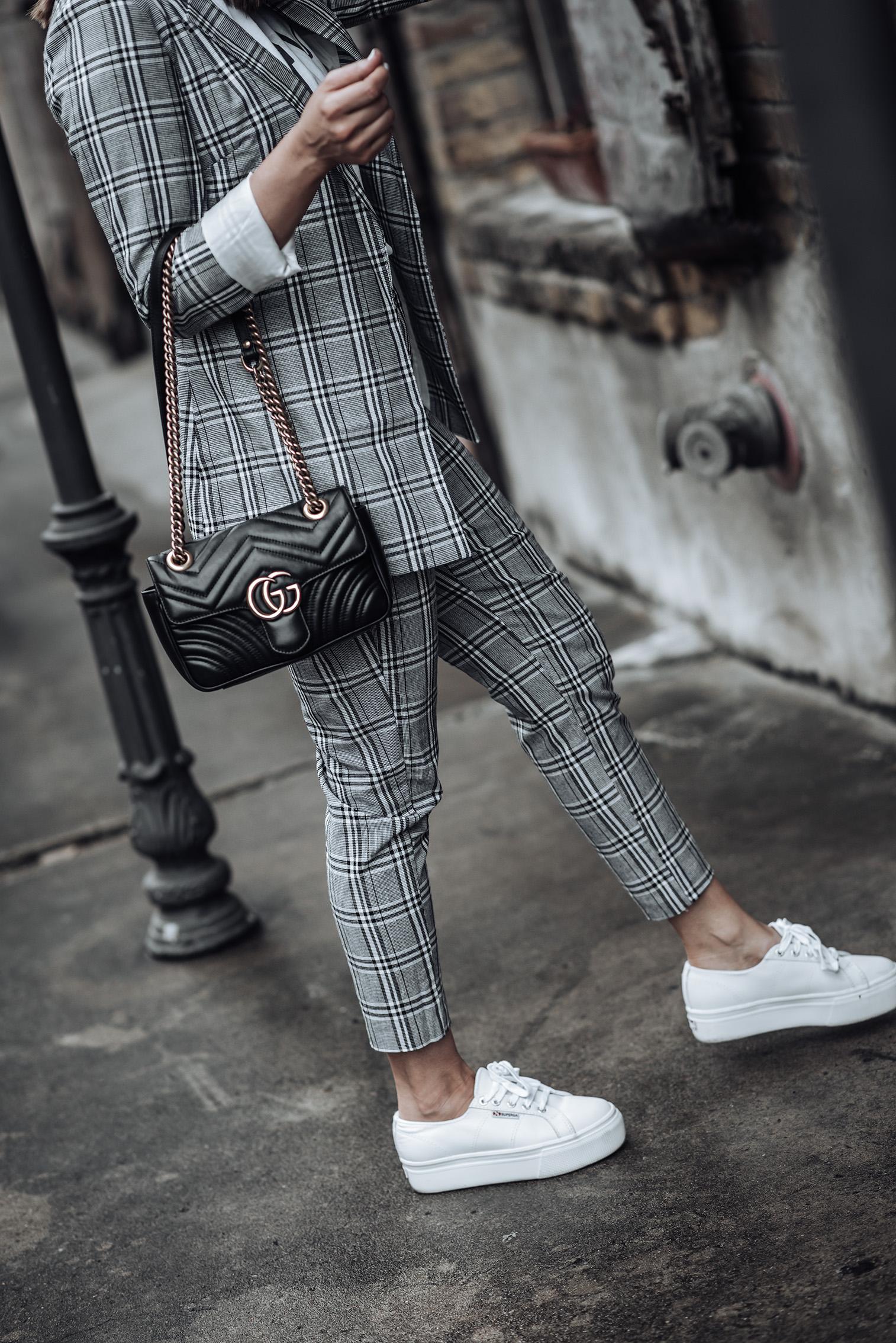 Checked Longline Blazer | Grey Check print | Checked Print Pants | Superga Platforms | Les Girls Tee | Mini GG Marmont #streetstyle2018 #womenssuit #graphictee #minimalistblogger #minimal