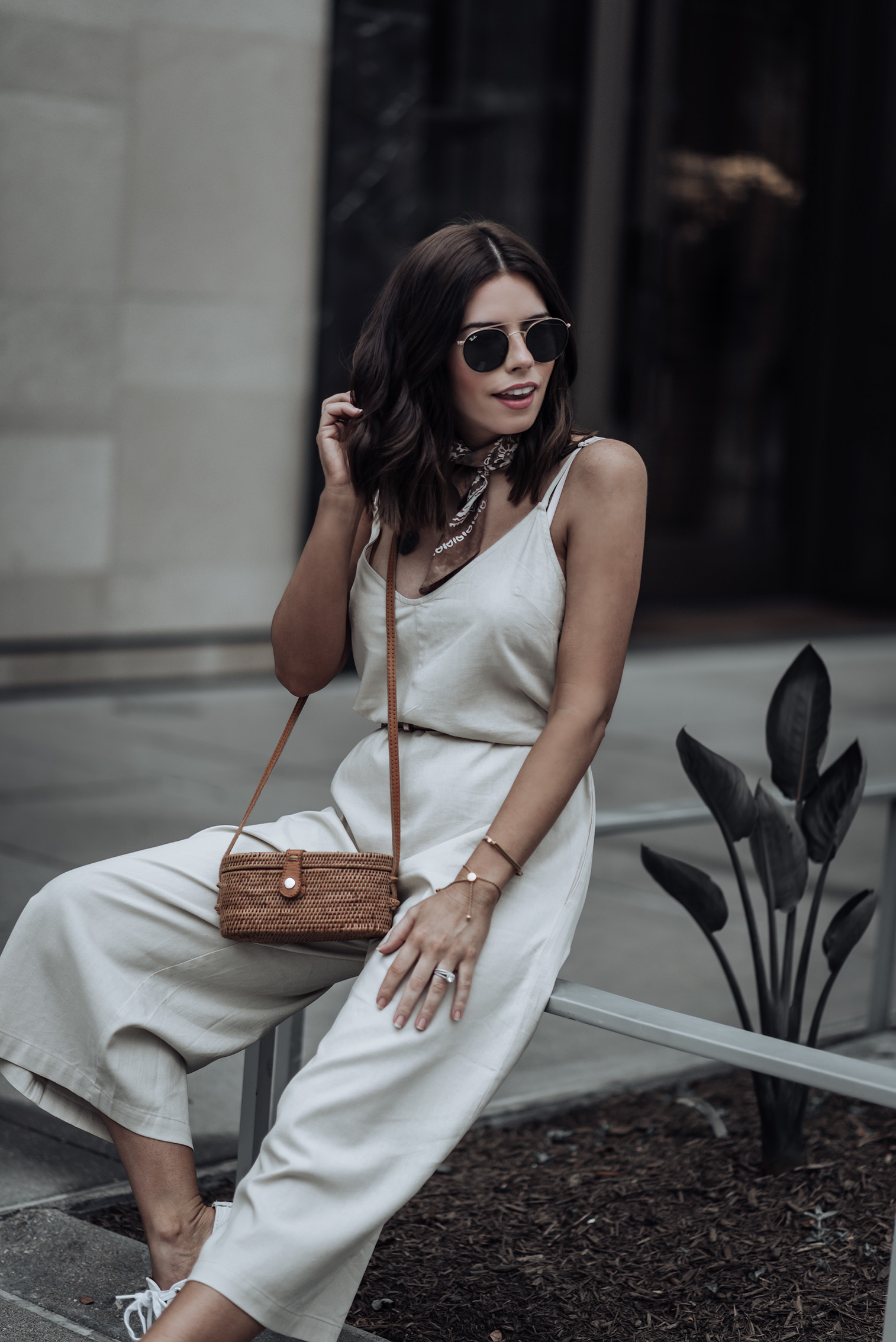Currently trending - the jumpsuit | Urban Outfitters Shapeless Jumpsuit | Cross Body Box Bag | Superga Platform Sneakers | Monica V. Bangle | Classic bandana #jumpsuit #strawbag #sneakeroutfits #casualstyle #liketkit #urbanoutfitters