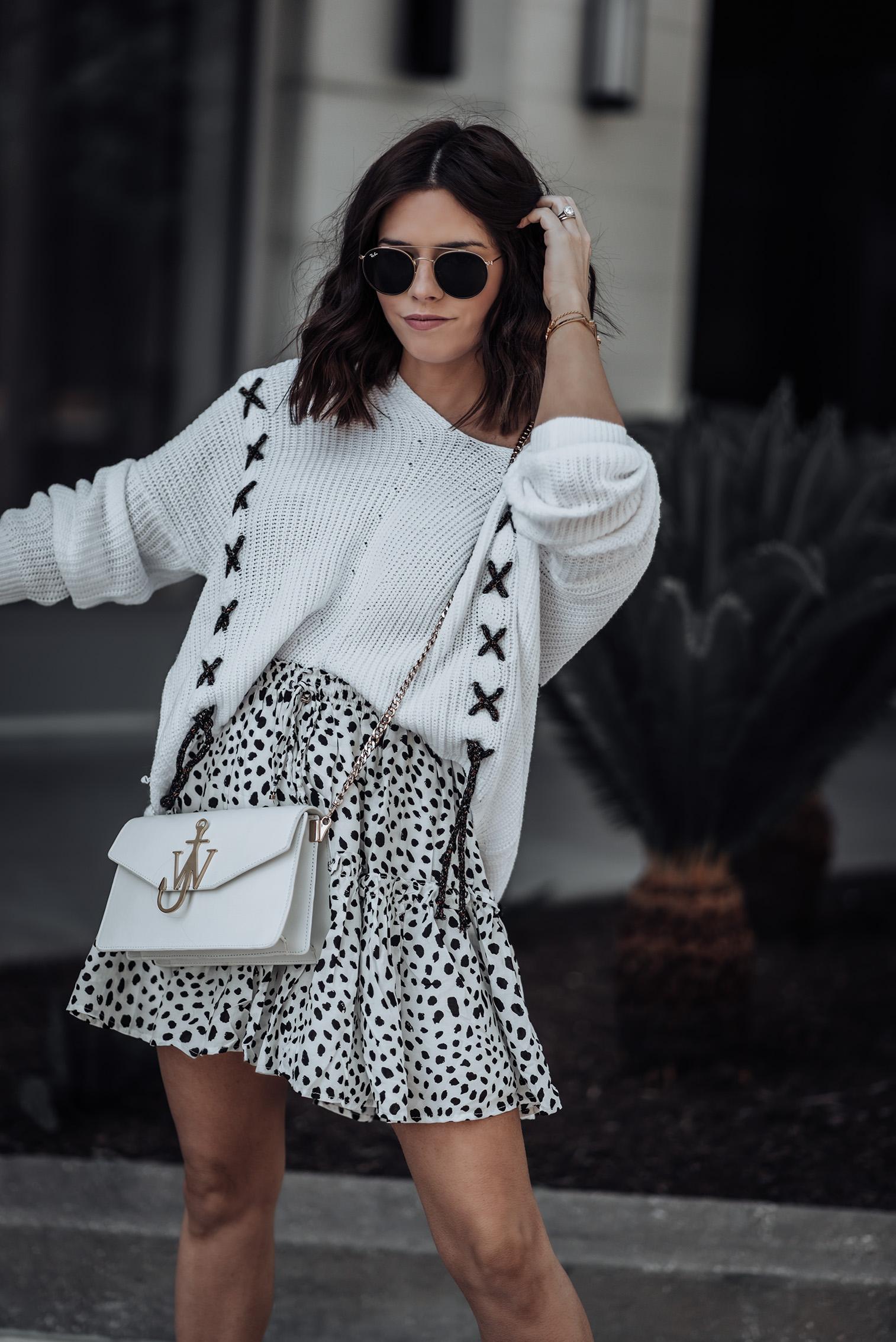 Printed Skirt (similar) | Sweater (similar) | Superga Platform Sneakers | JW Anderson Bag #liketkit #casualstyle