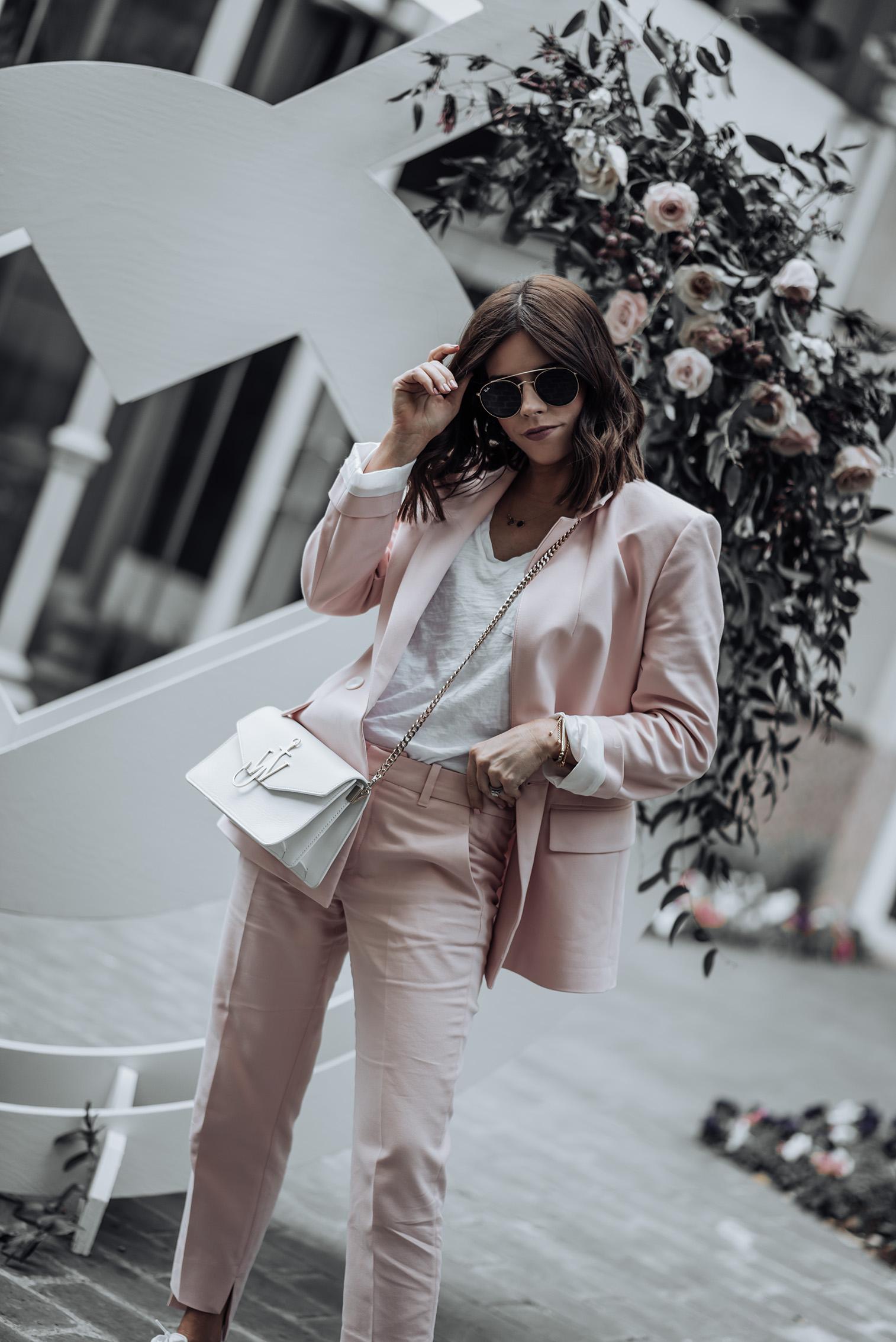 Pant suit  Blush pant suit Zara (similar Blazer & Pant)   J.W. Anderson Bag   Ray-bans   Superga Platforms   #liketkit #pantsuit #zara #streetstyle #blogger