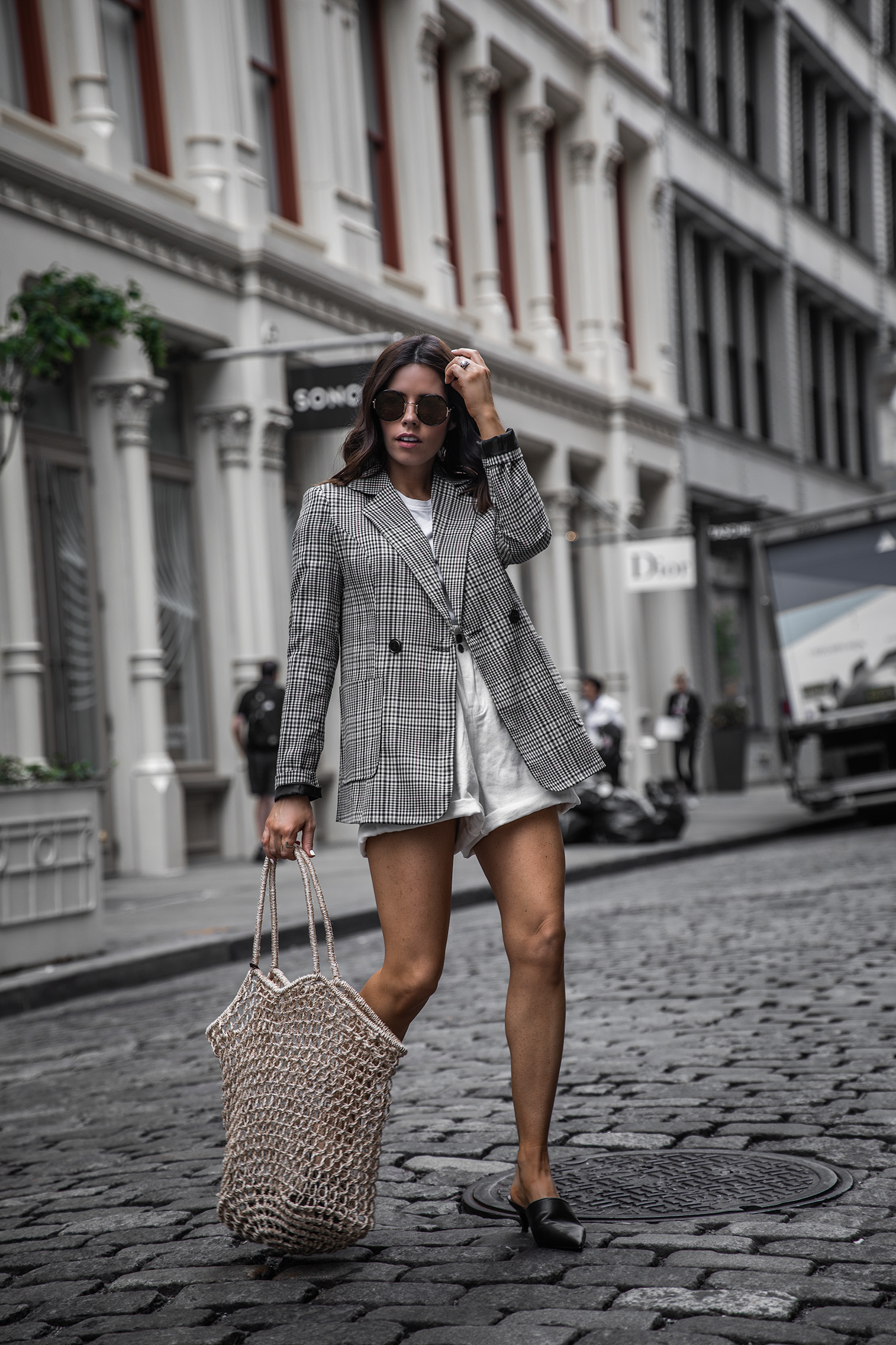 Paper Bag Shorts Trend | Plaid Blazer | White Paper Bag Denim Shorts |  Mule Slide (similar) | Knit Bag (similar)