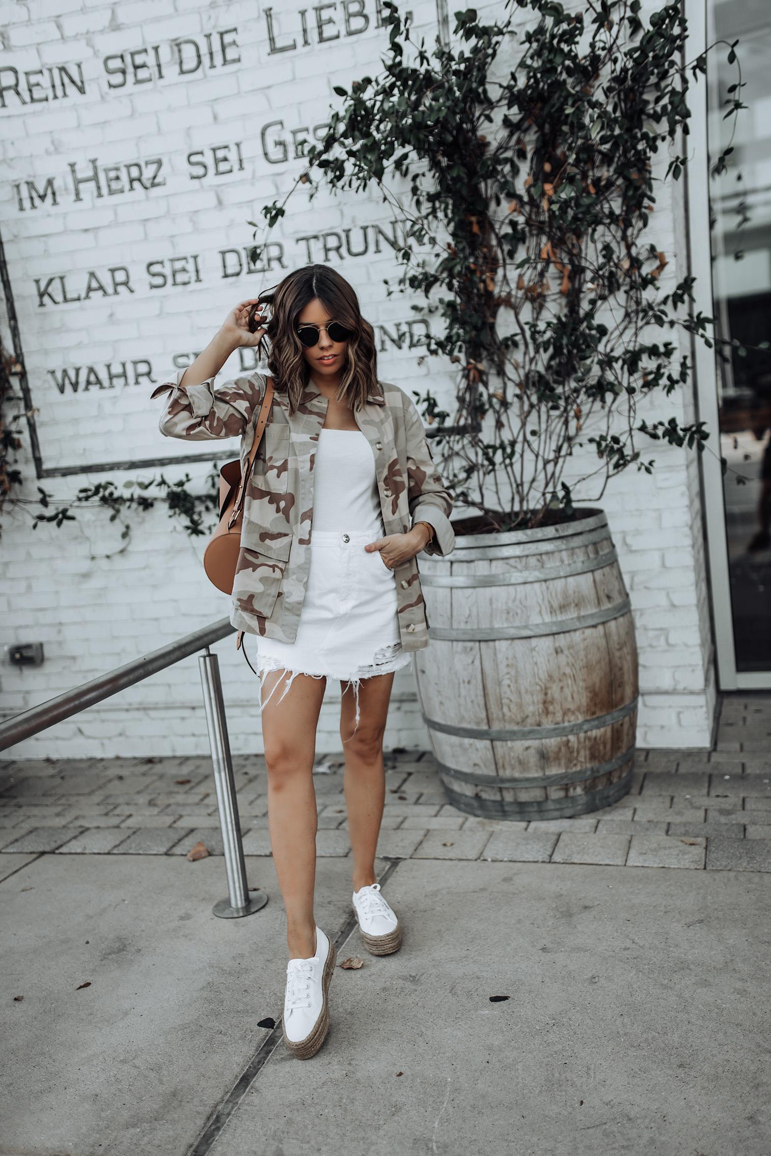 Topshop Camo Print Jacket   camo  Denim skirt   Zac Zac Posen Belay Backpack   Superga Flatform Sneakers   #sneakeroutfits #streetstyle #summeroutfits #liketkit #zaczacposen