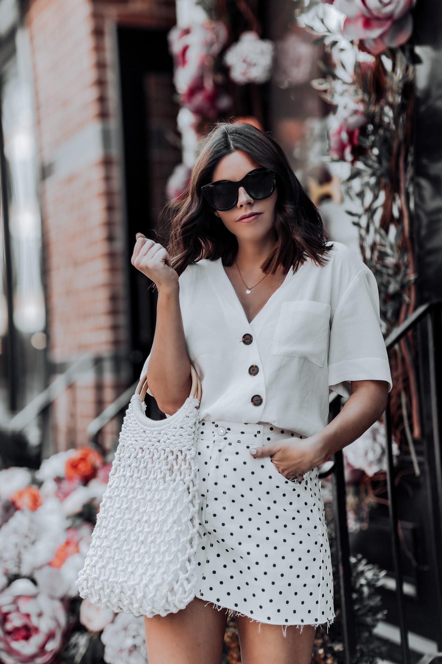 All white  Topshop Polka Dot Skirt   Topshop Blouse   String Shopper Bag   Woven Mules  Straw handbag Trend   Streetstyle blog #streetstyle #ootd #liketkit #topshop